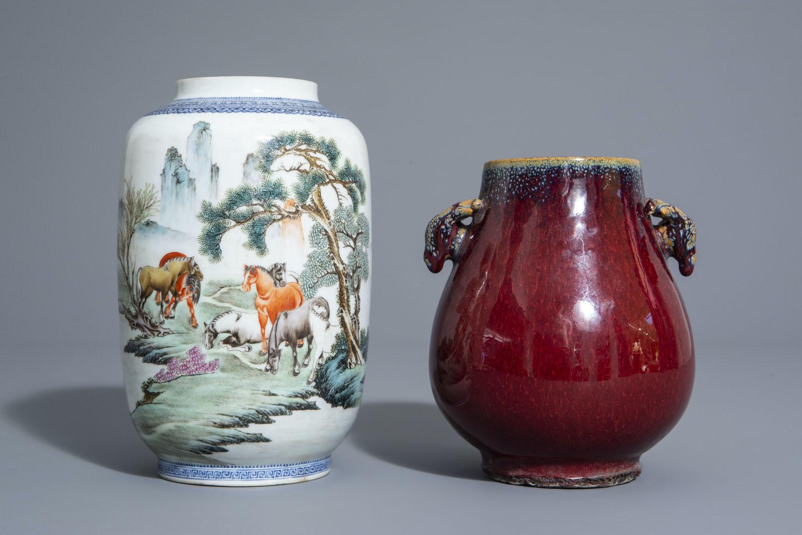A Chinese famille rose eggshell 'Horses of Mu Wang' vase and a flambŽ glazed hu vase, 20th C. - Image 2 of 7