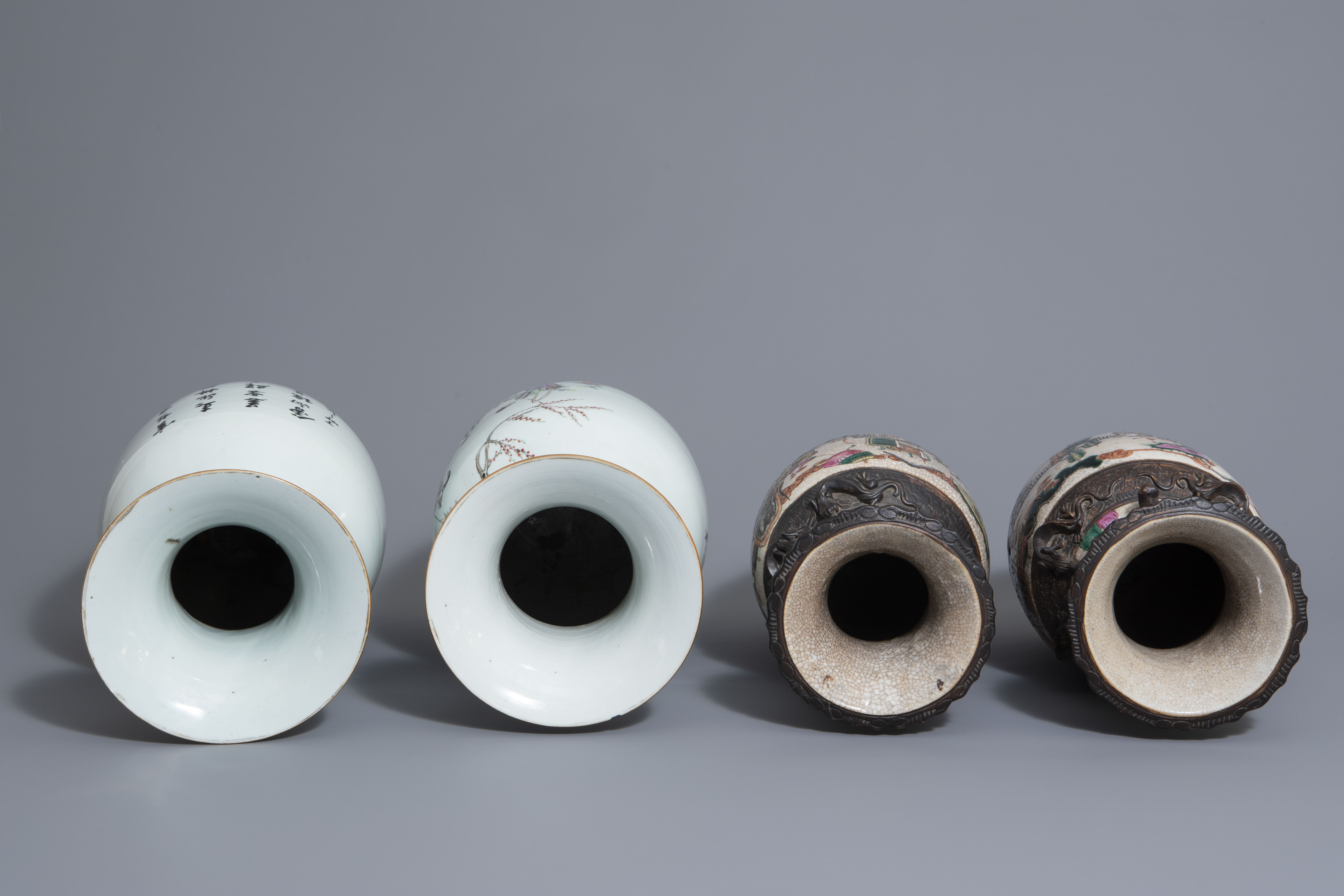 Two pairs of Chinese famille rose and Nanking crackle glazed vases, 19th/20th C. - Image 6 of 7