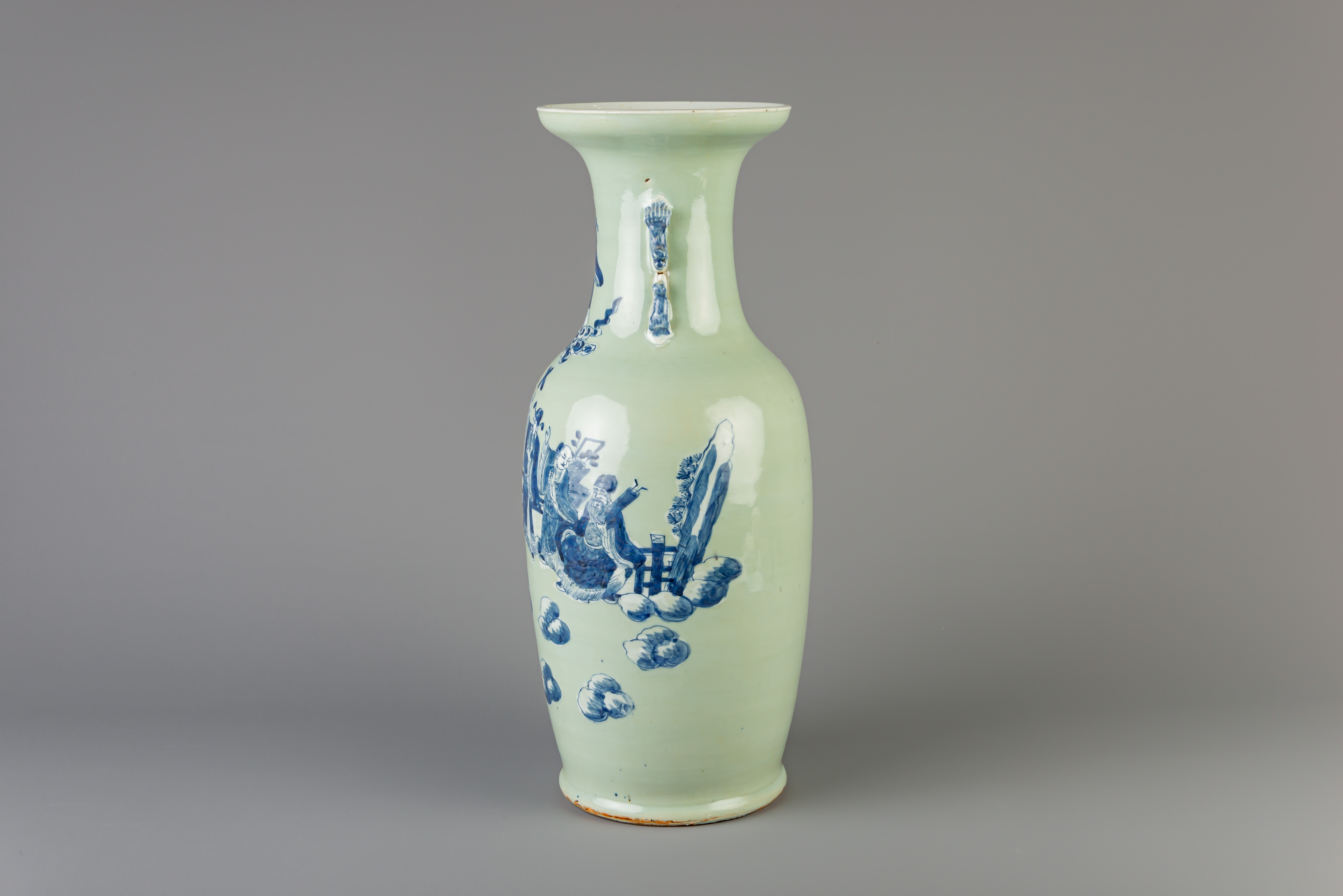 A Chinese blue and white celadon ground 'Immortals' vase, 19th C. - Image 2 of 6