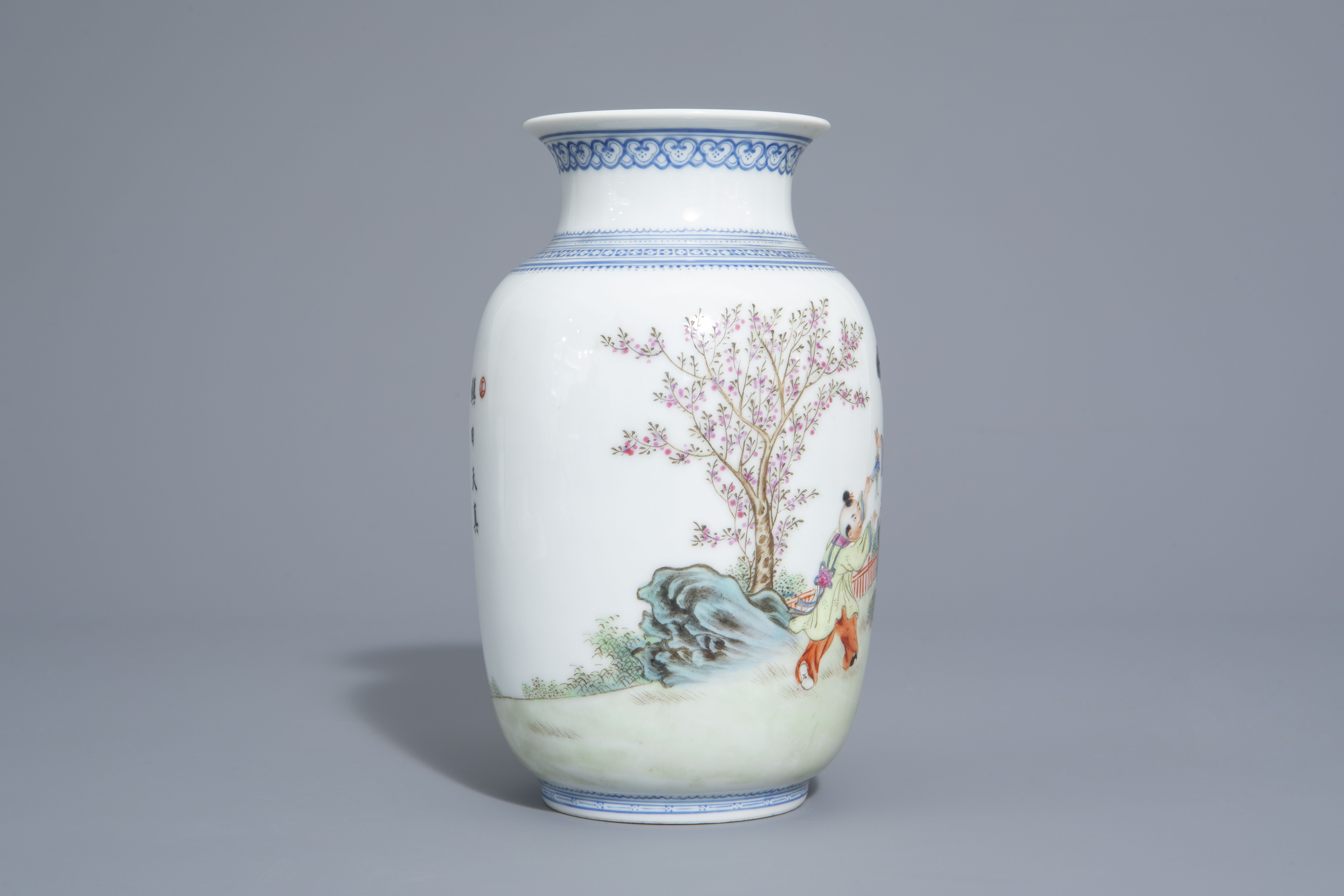 A Chinese famille rose eggshell vase and six 'Wu Shuang Pu' covers, 19th/20th C. - Image 5 of 18