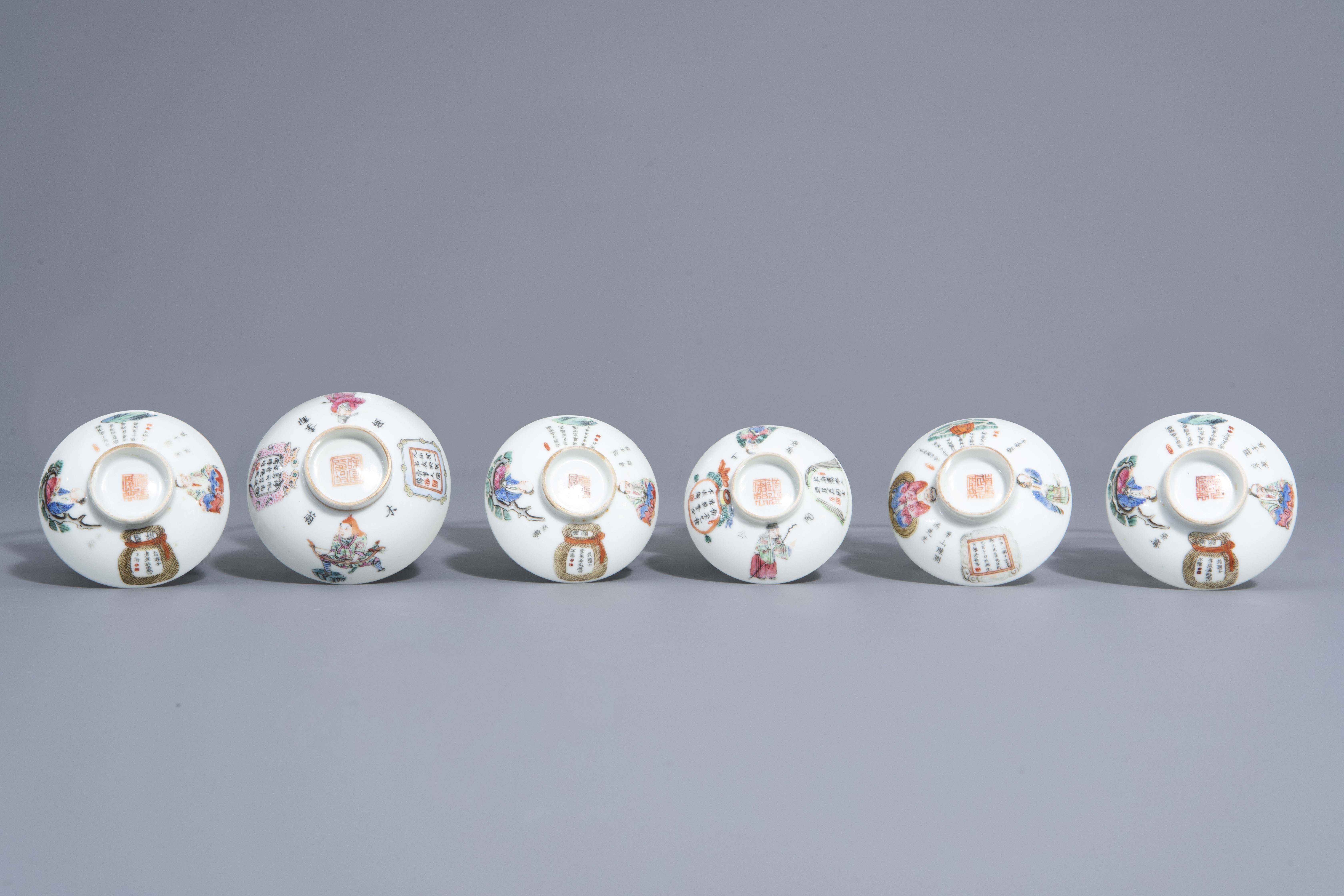 A Chinese famille rose eggshell vase and six 'Wu Shuang Pu' covers, 19th/20th C. - Image 18 of 18