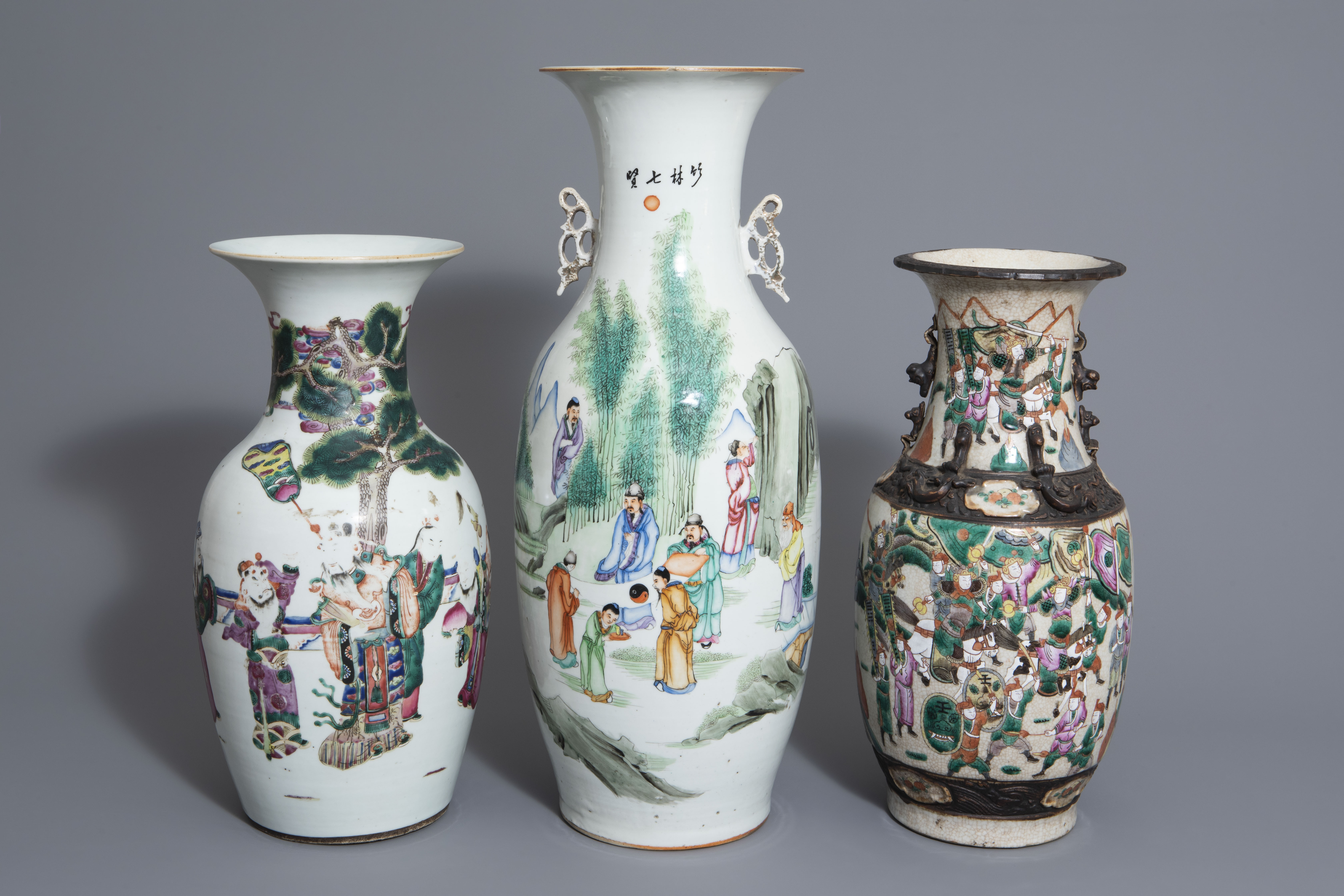 Three Chinese famille rose and Nanking crackle glazed vases, 19th C.