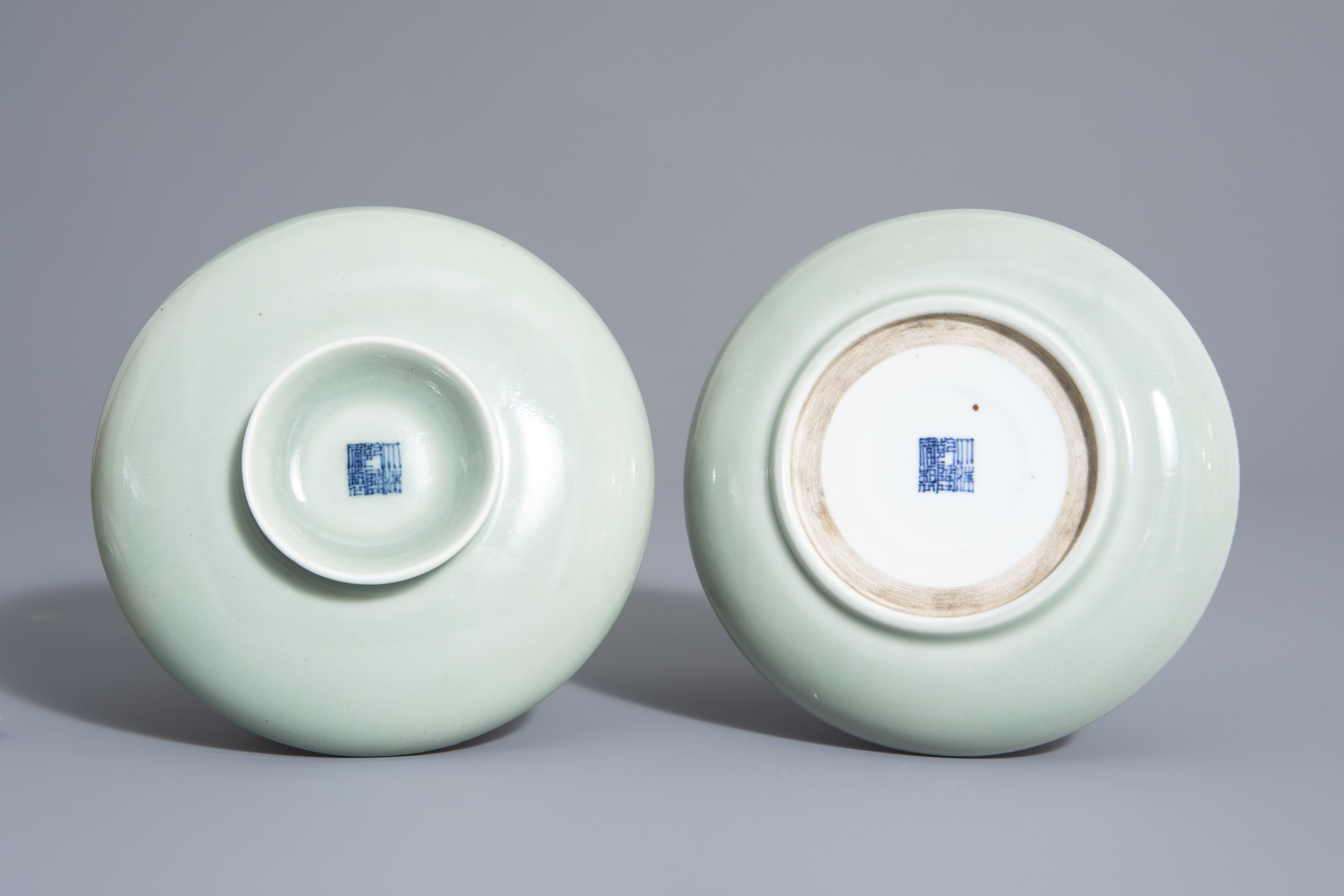 A Chinese celadon spice box, Qianlong mark, 19th C. - Image 7 of 12