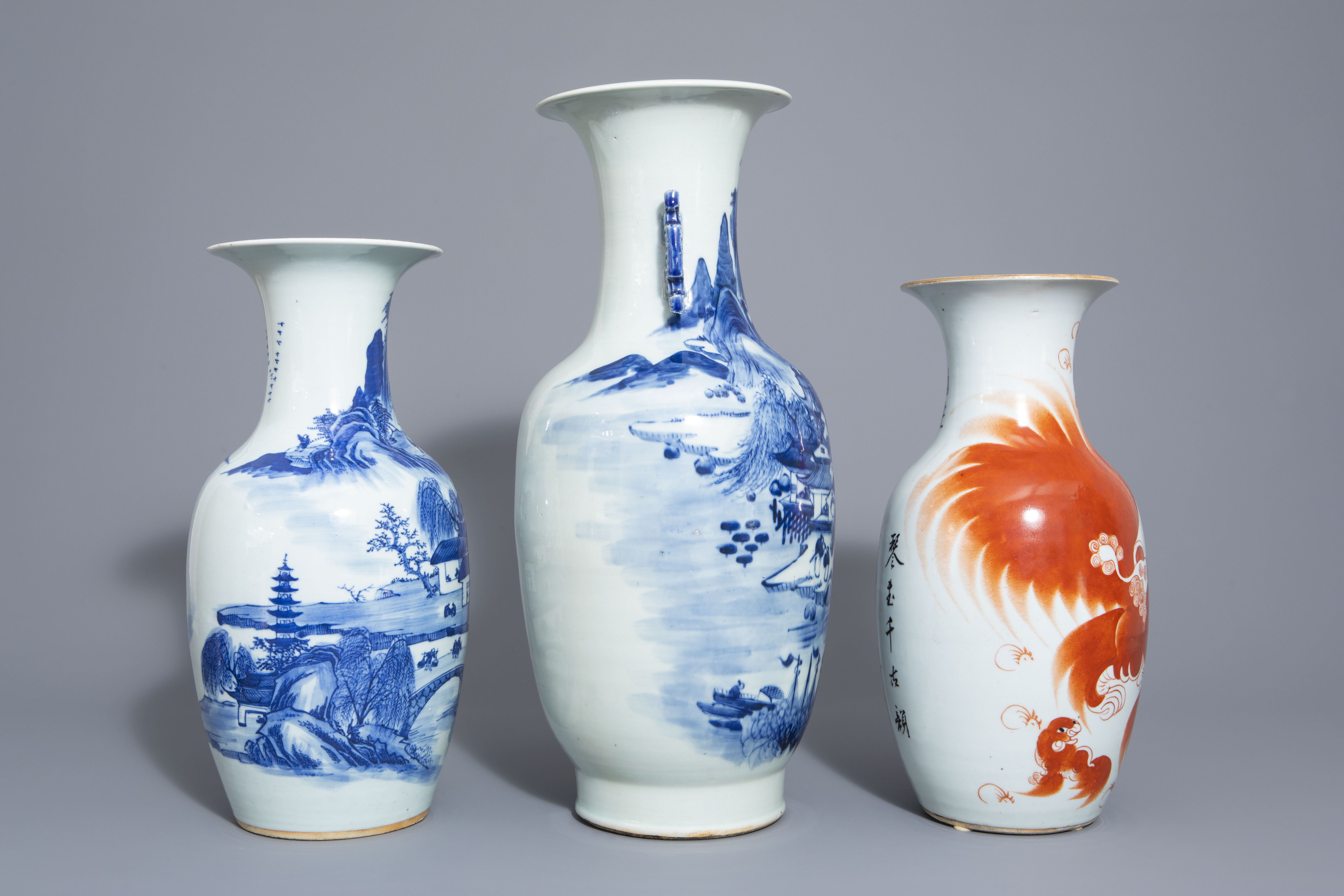 Three Chinese blue and white and iron red vases, 19th/20th C. - Image 2 of 6