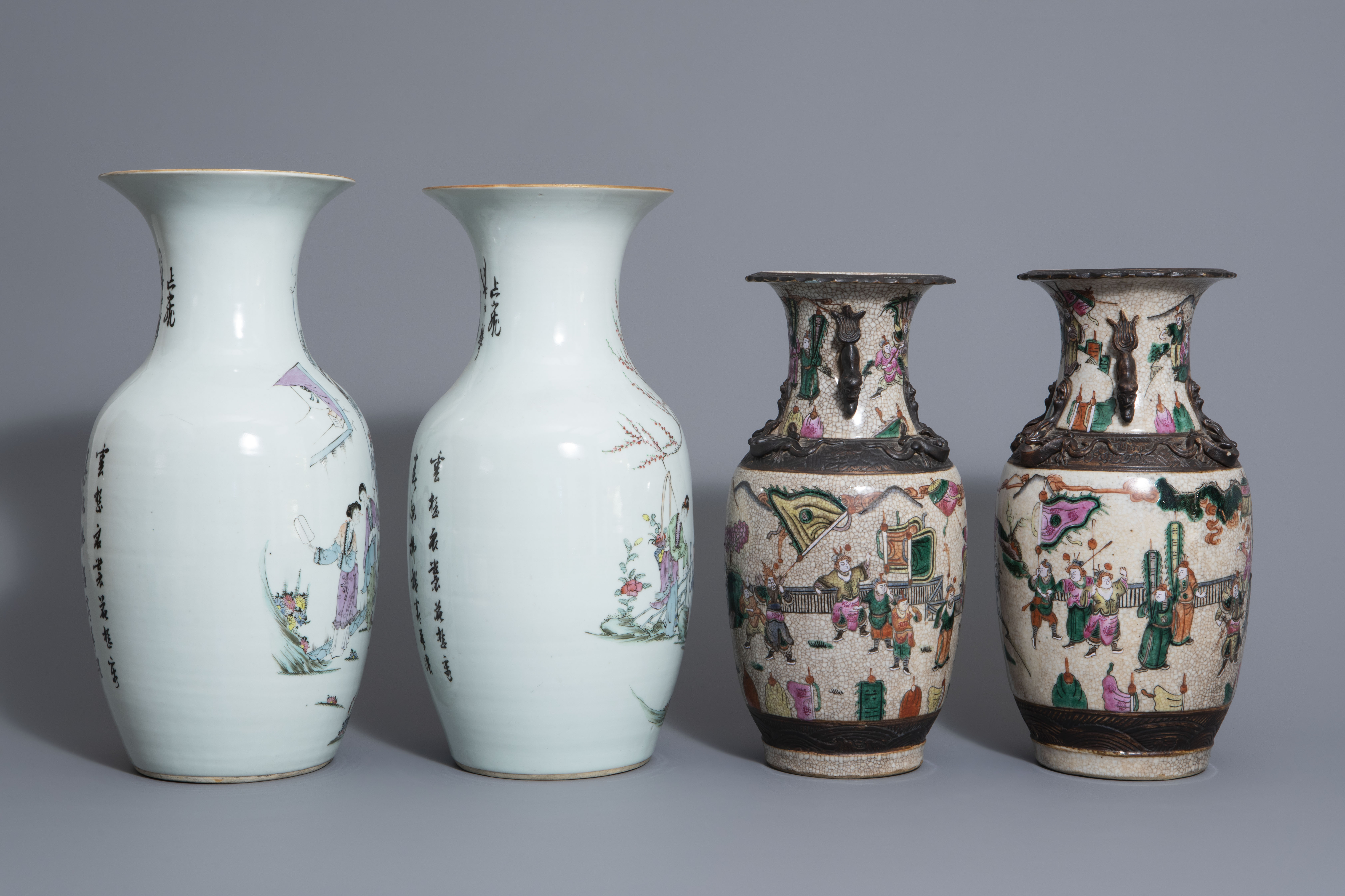 Two pairs of Chinese famille rose and Nanking crackle glazed vases, 19th/20th C. - Image 3 of 7