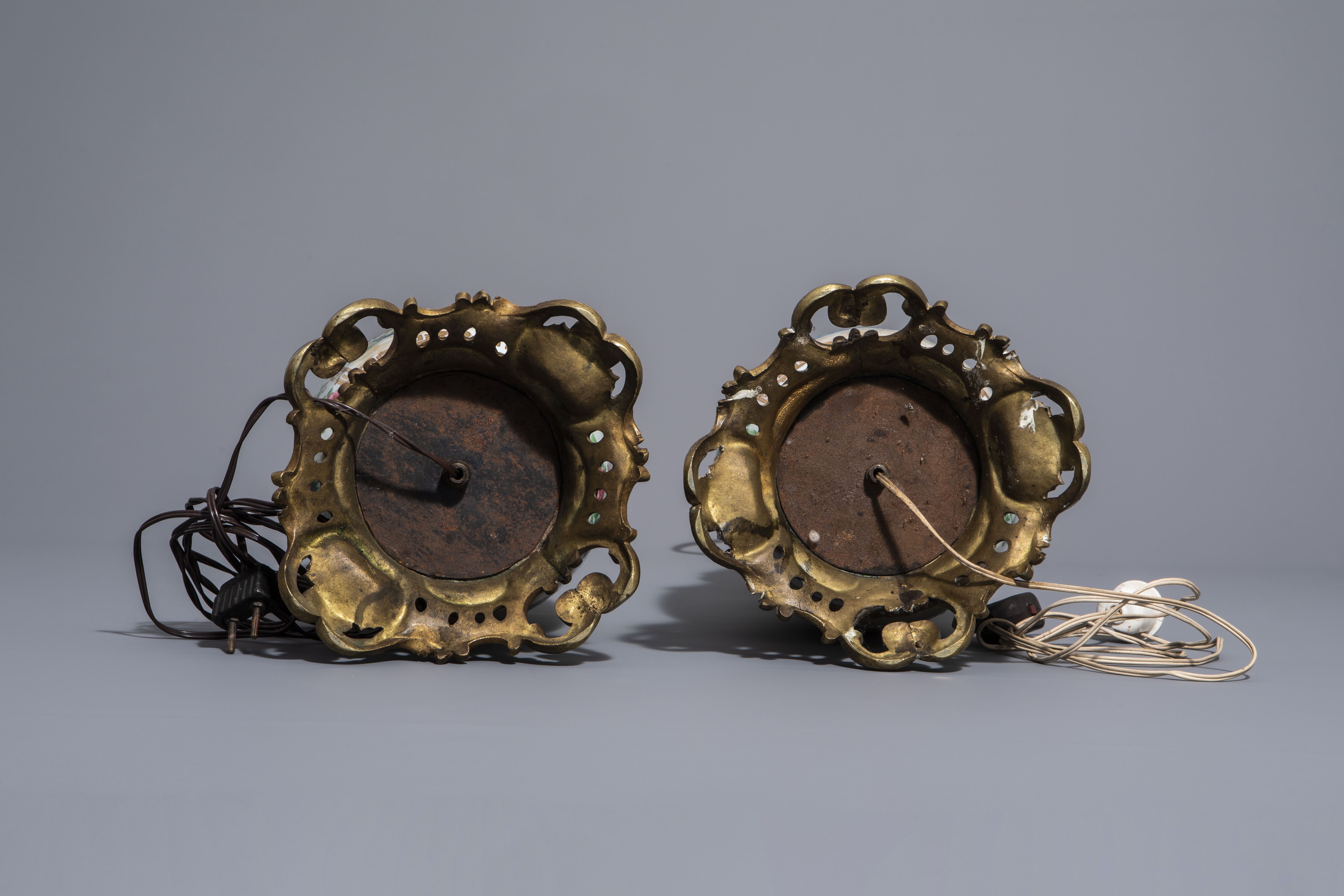 A pair of Chinese Canton famille rose vases mounted as lamps and a famille verte jar, 19th C. - Image 7 of 13