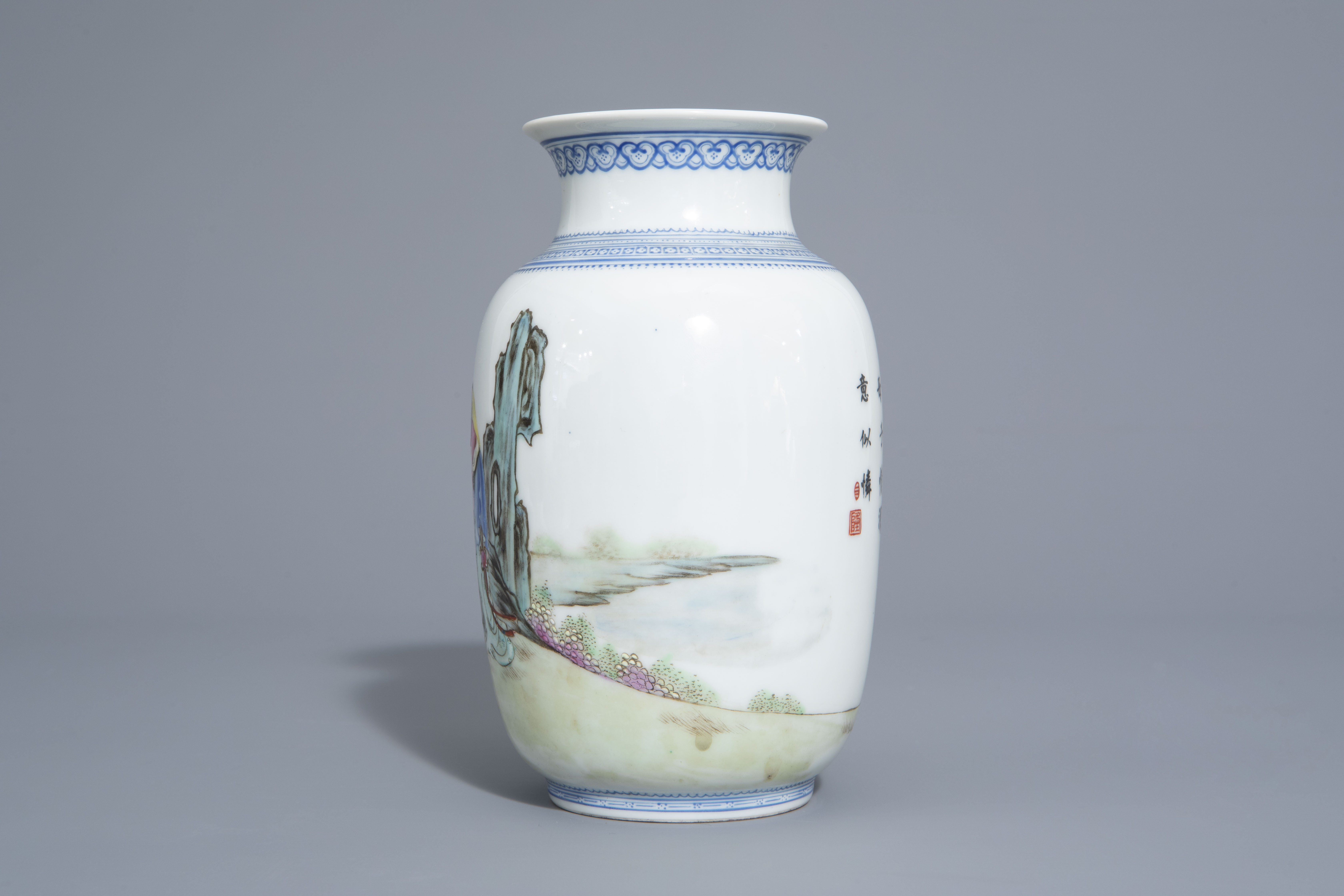 A Chinese famille rose eggshell vase and six 'Wu Shuang Pu' covers, 19th/20th C. - Image 9 of 18