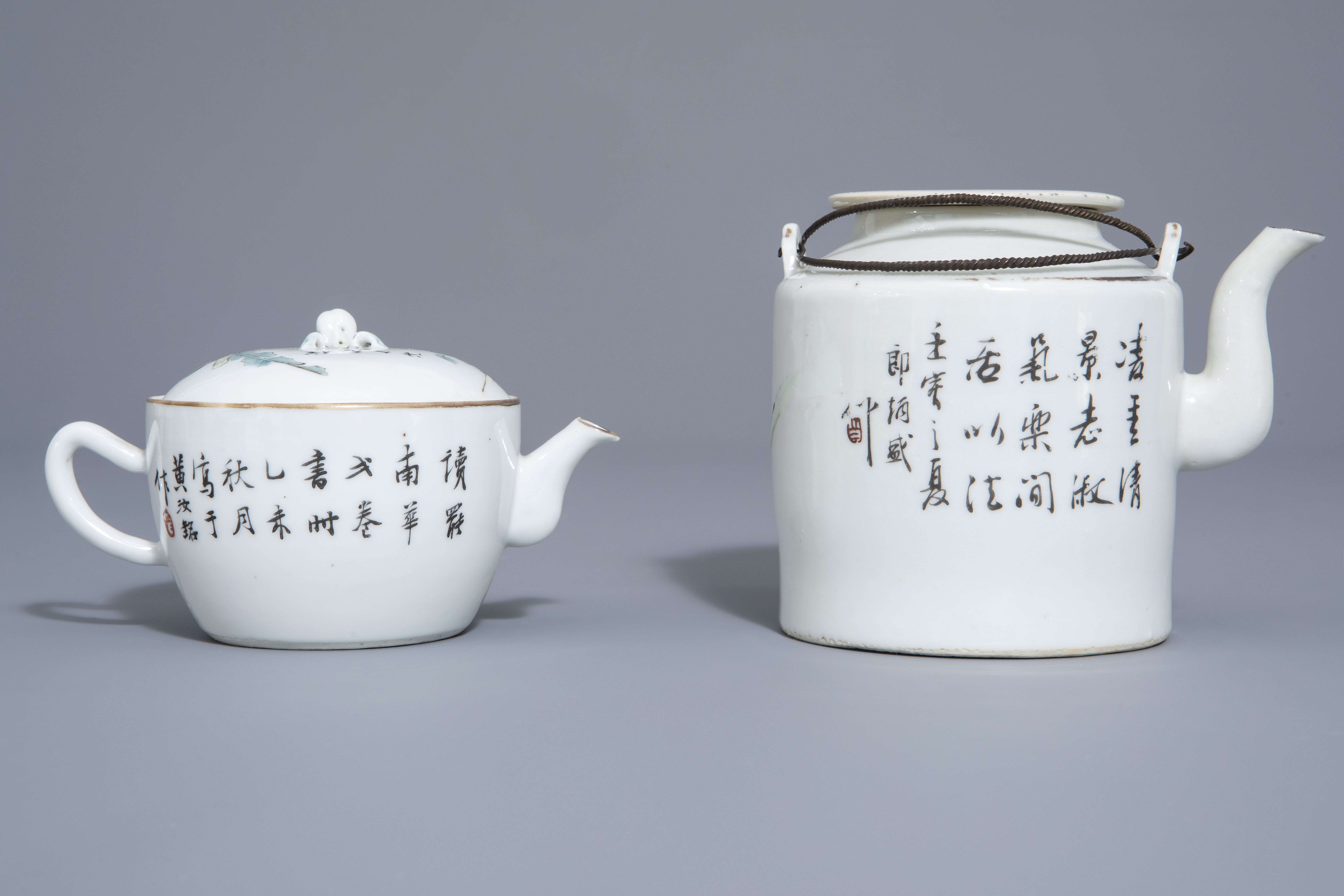 A Chinese seven-piece qianjiang cai tea service with figurative design, 19th/20th C. - Image 4 of 19