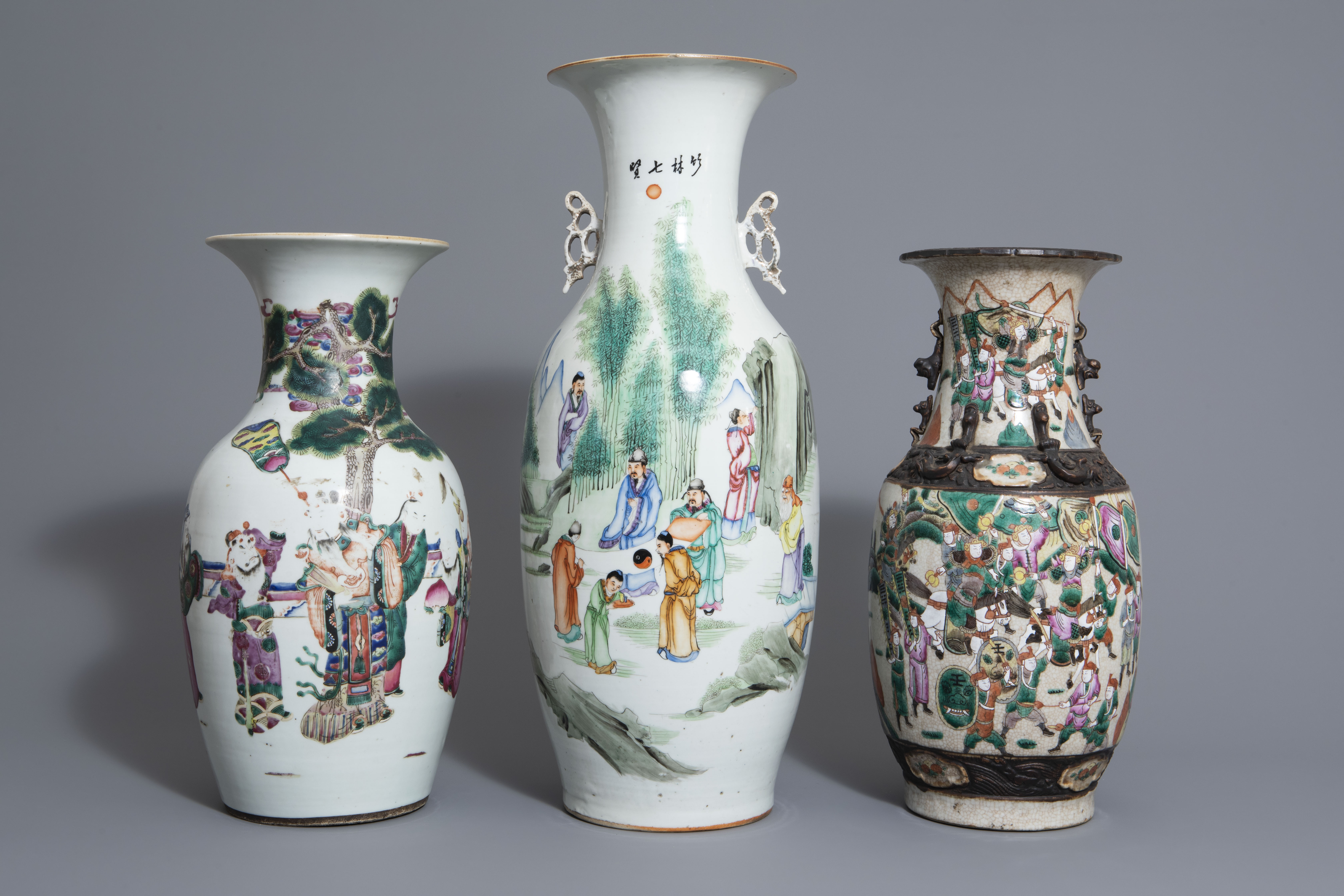 Three Chinese famille rose and Nanking crackle glazed vases, 19th C. - Image 2 of 7
