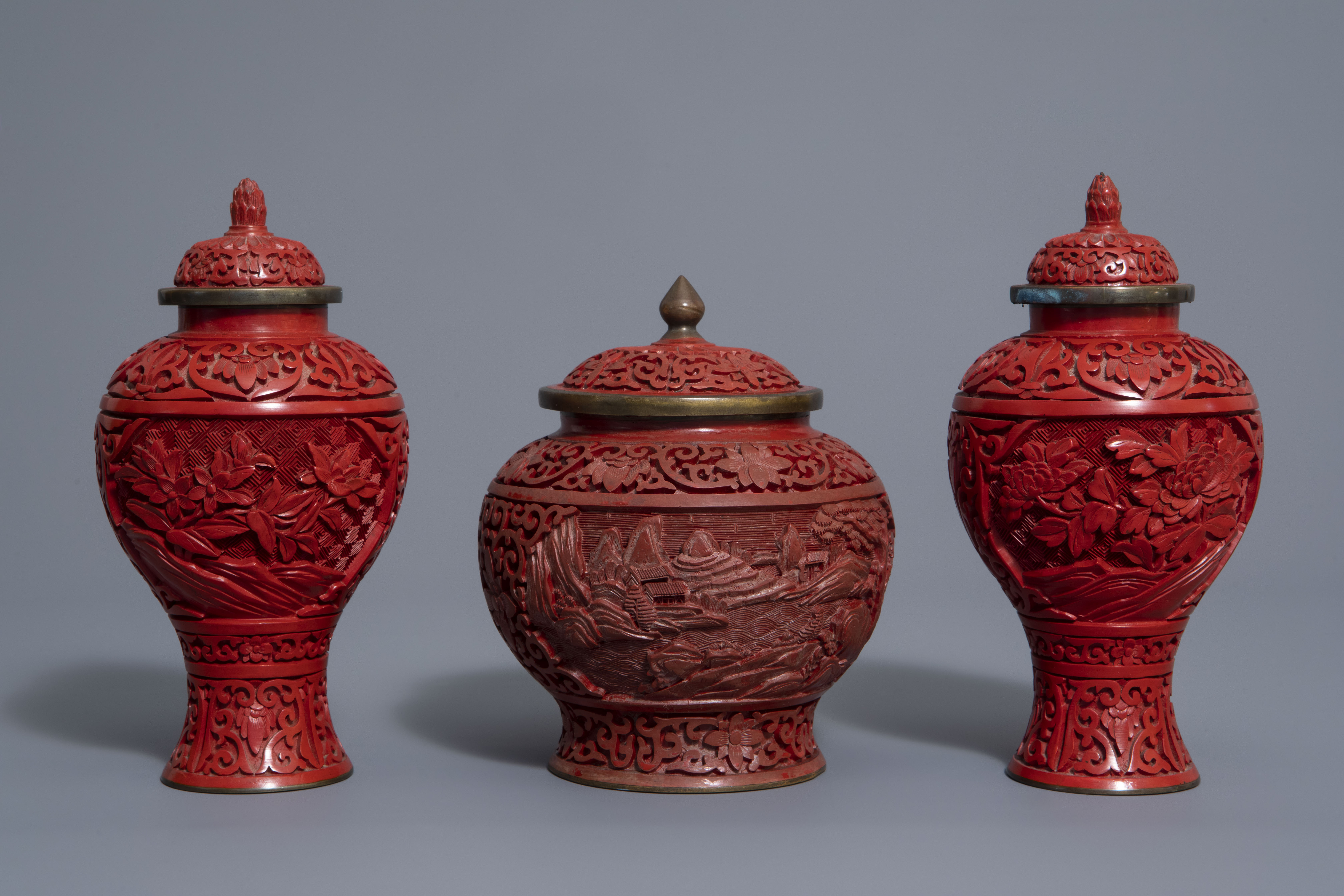 A Chinese tea block, cloisonné teapot, wall vase, bamboo brush pot & 3 red lacquer vases, 20th C. - Image 4 of 16