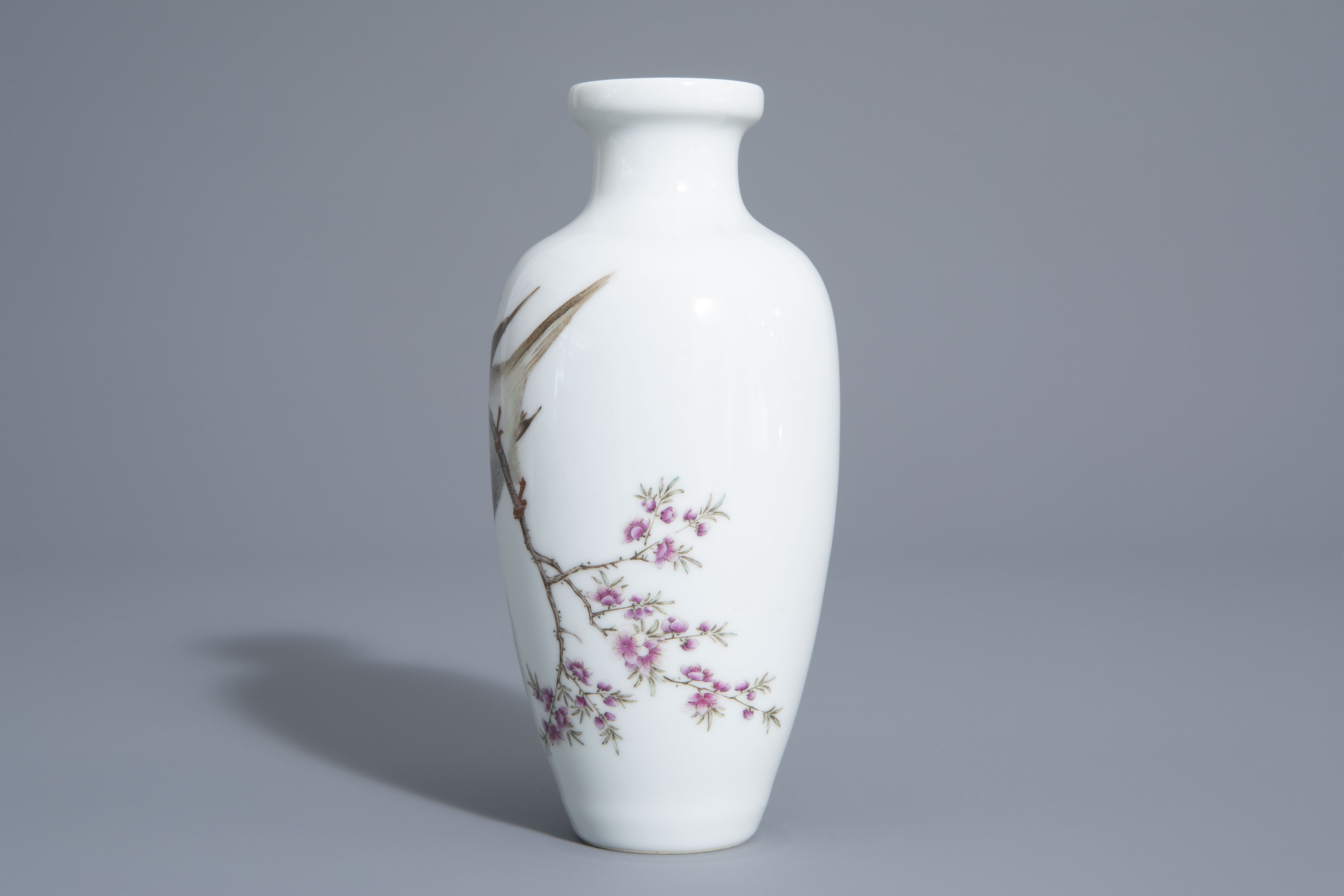 A Chinese famille rose vase with a bird among a flowering branch, 20th C. - Image 5 of 7