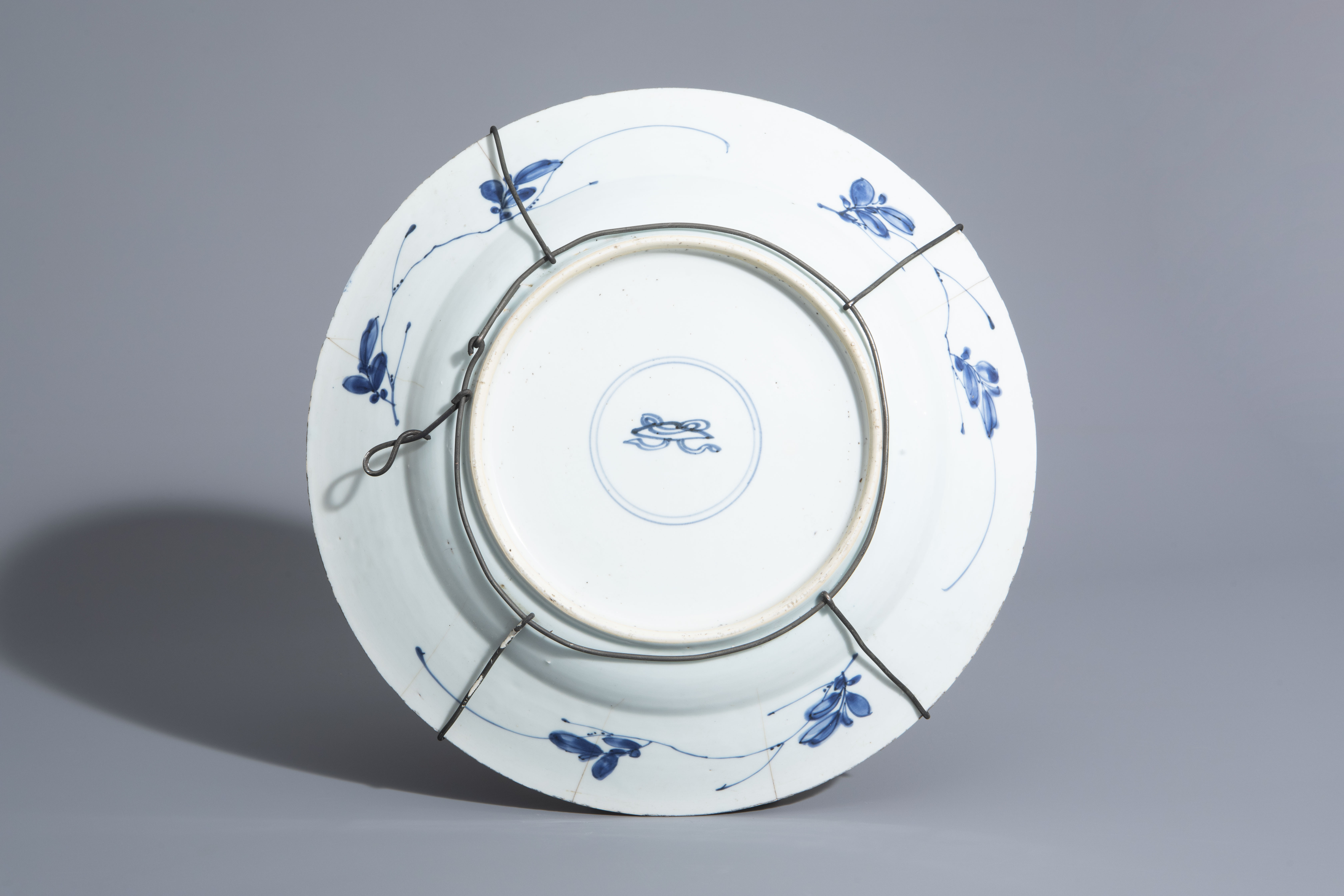 A Chinese blue and white charger and a Peranakan or Straits market night light, Kangxi and 19th C. - Image 3 of 9