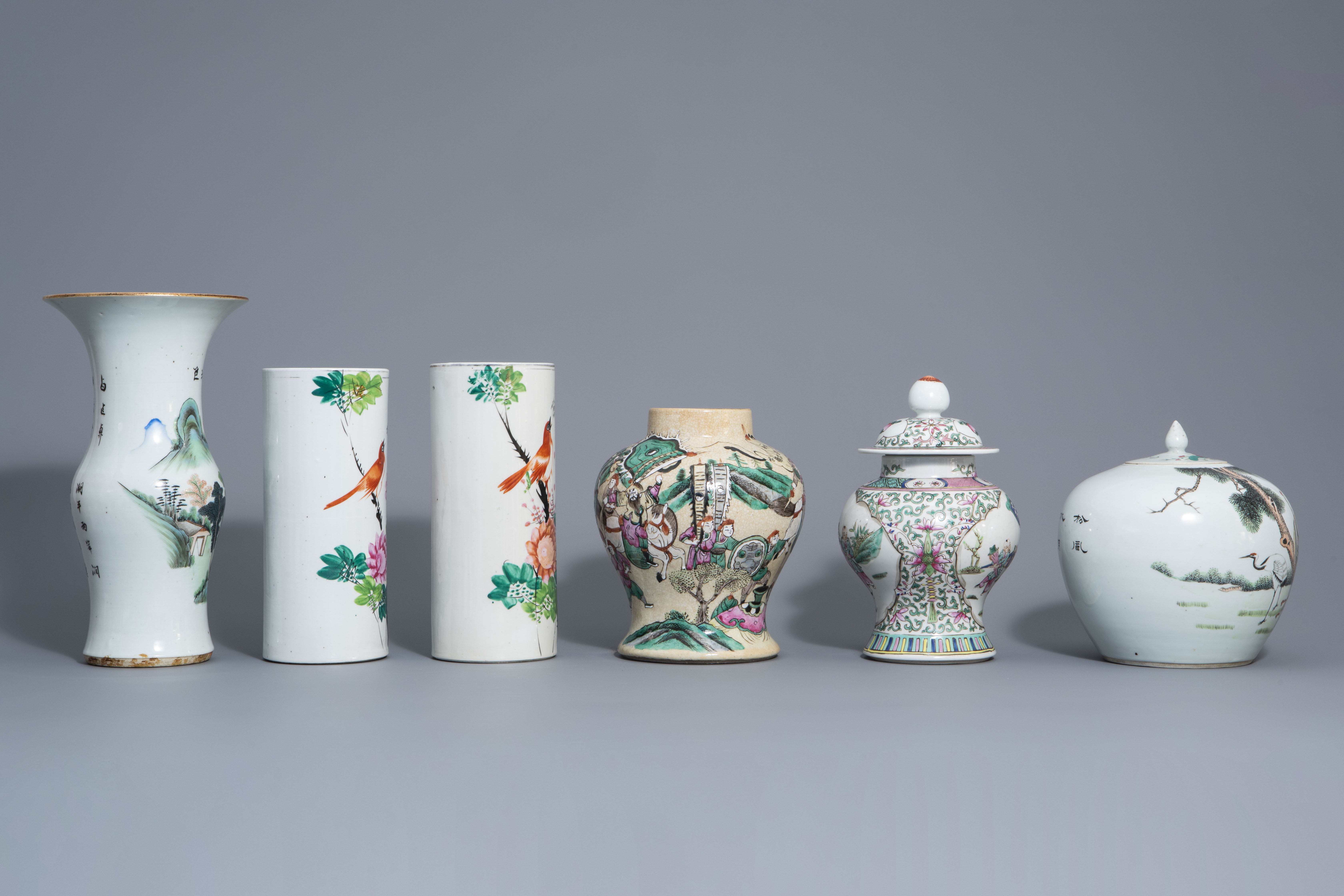 Six Chinese qianjiang cai and famille rose vases, 19th/20th C. - Image 3 of 8