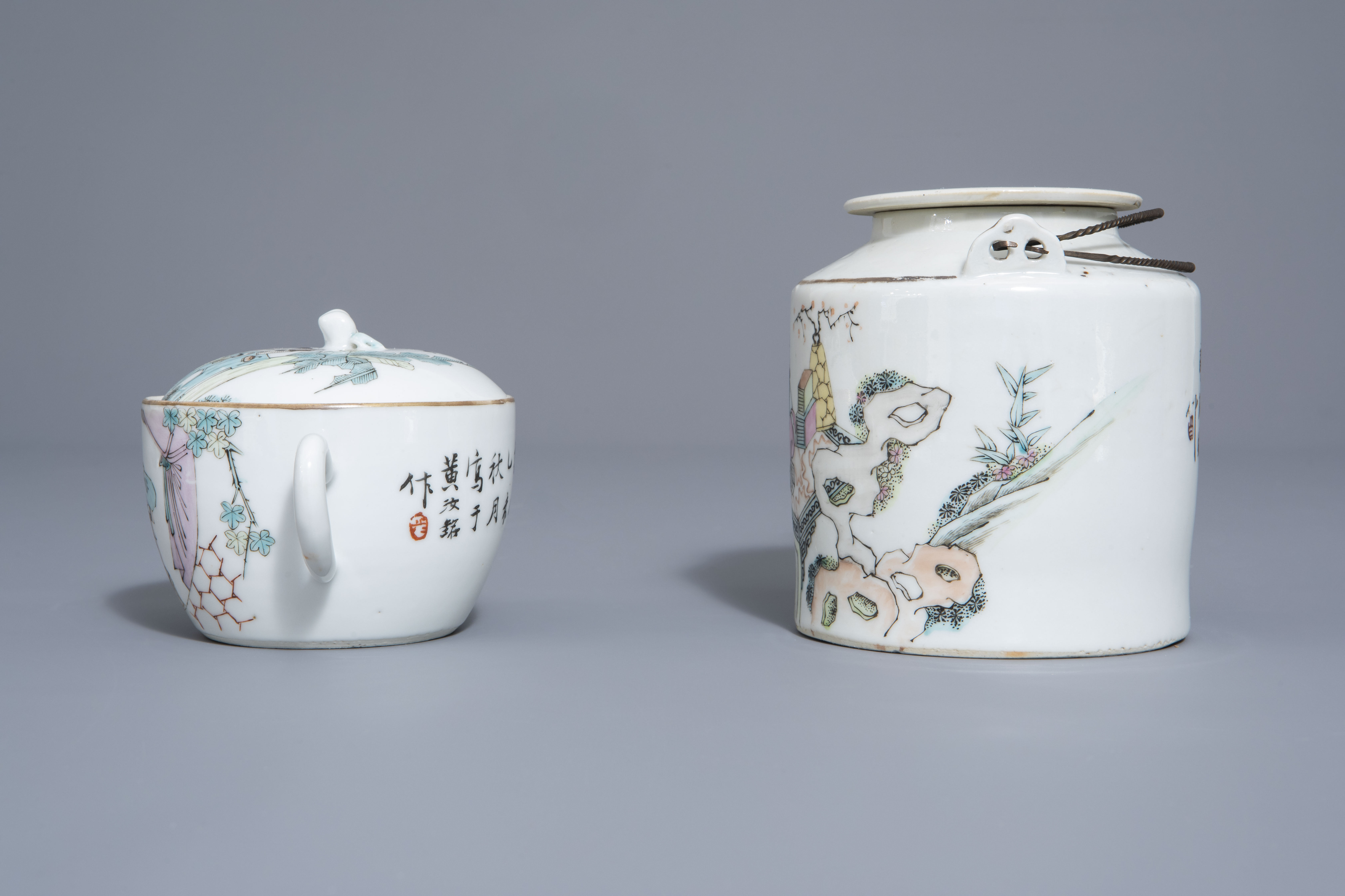 A Chinese seven-piece qianjiang cai tea service with figurative design, 19th/20th C. - Image 5 of 19