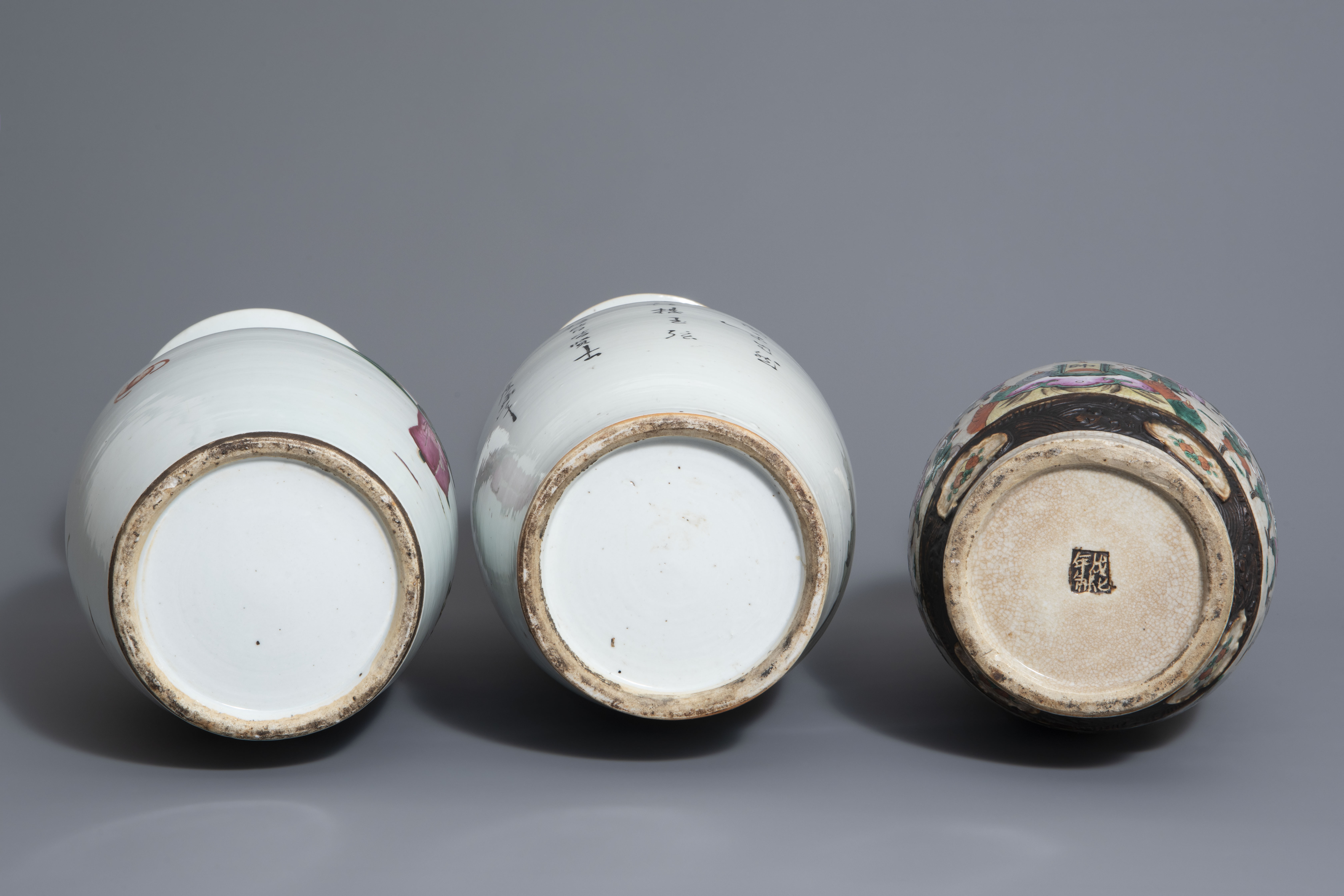 Three Chinese famille rose and Nanking crackle glazed vases, 19th C. - Image 7 of 7