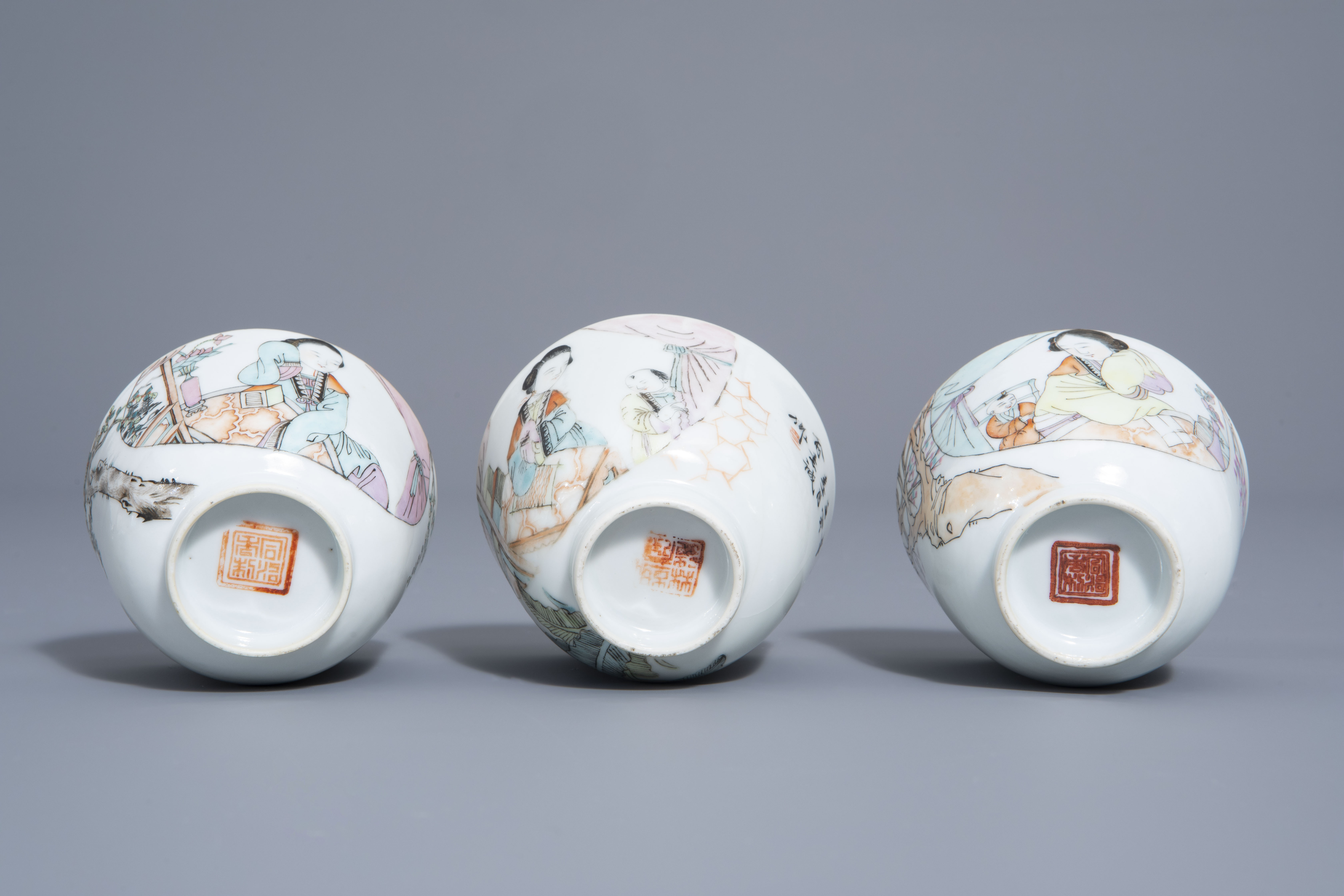A Chinese seven-piece qianjiang cai tea service with figurative design, 19th/20th C. - Image 19 of 19