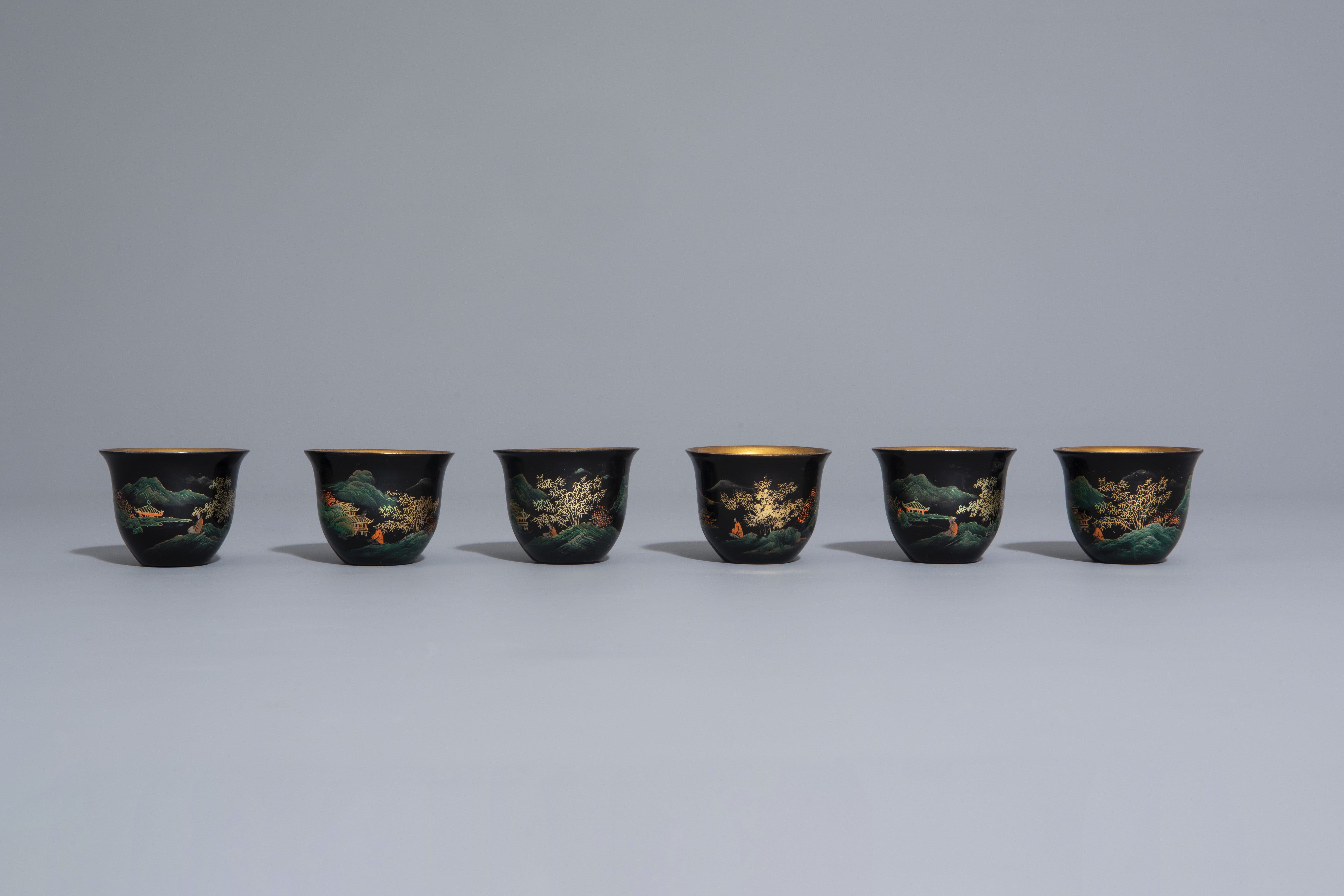 An extensive Chinese Foochow lacquer Shen Shao'an style coffee and tea service, 20th C. - Image 19 of 23