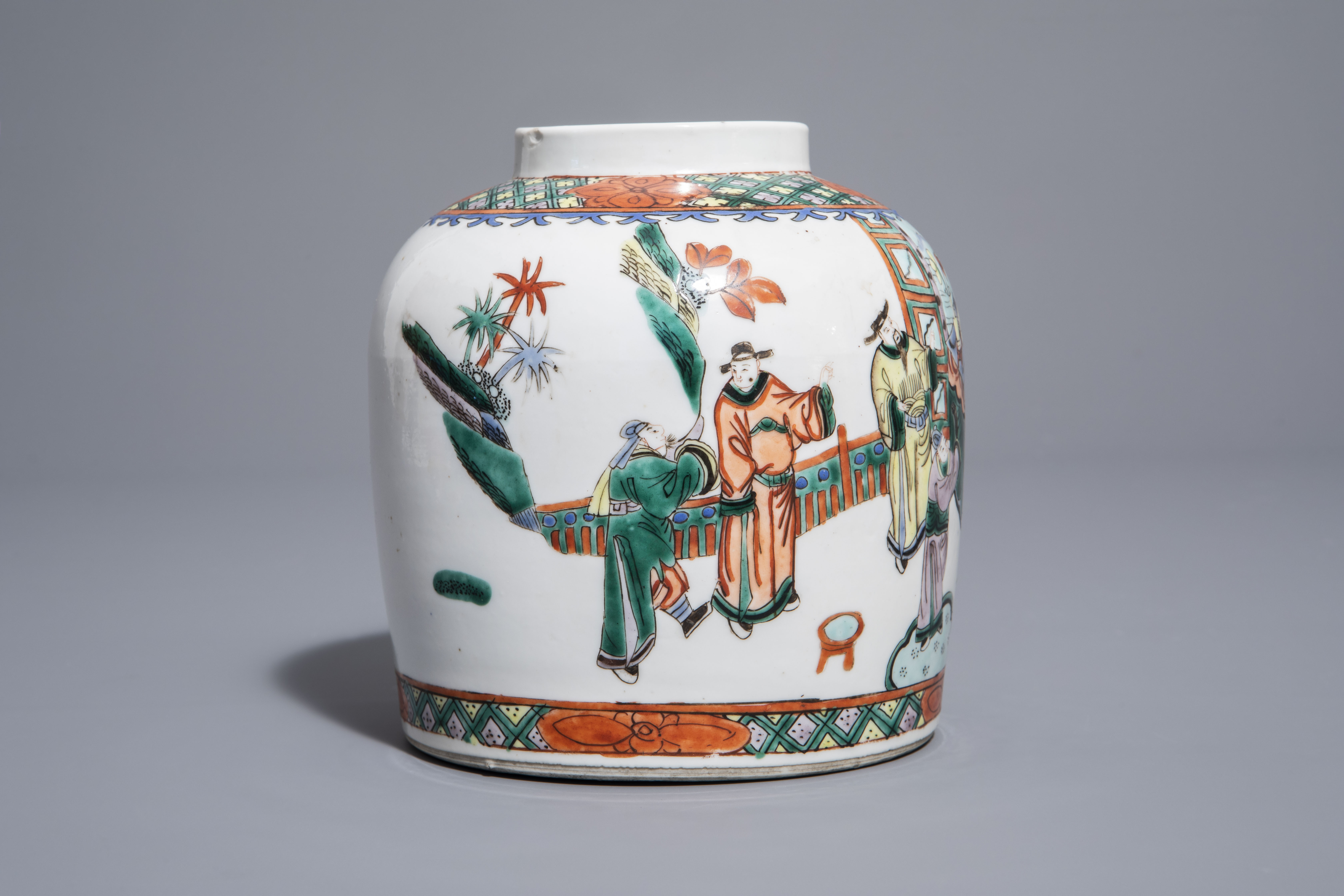A pair of Chinese Canton famille rose vases mounted as lamps and a famille verte jar, 19th C. - Image 9 of 13