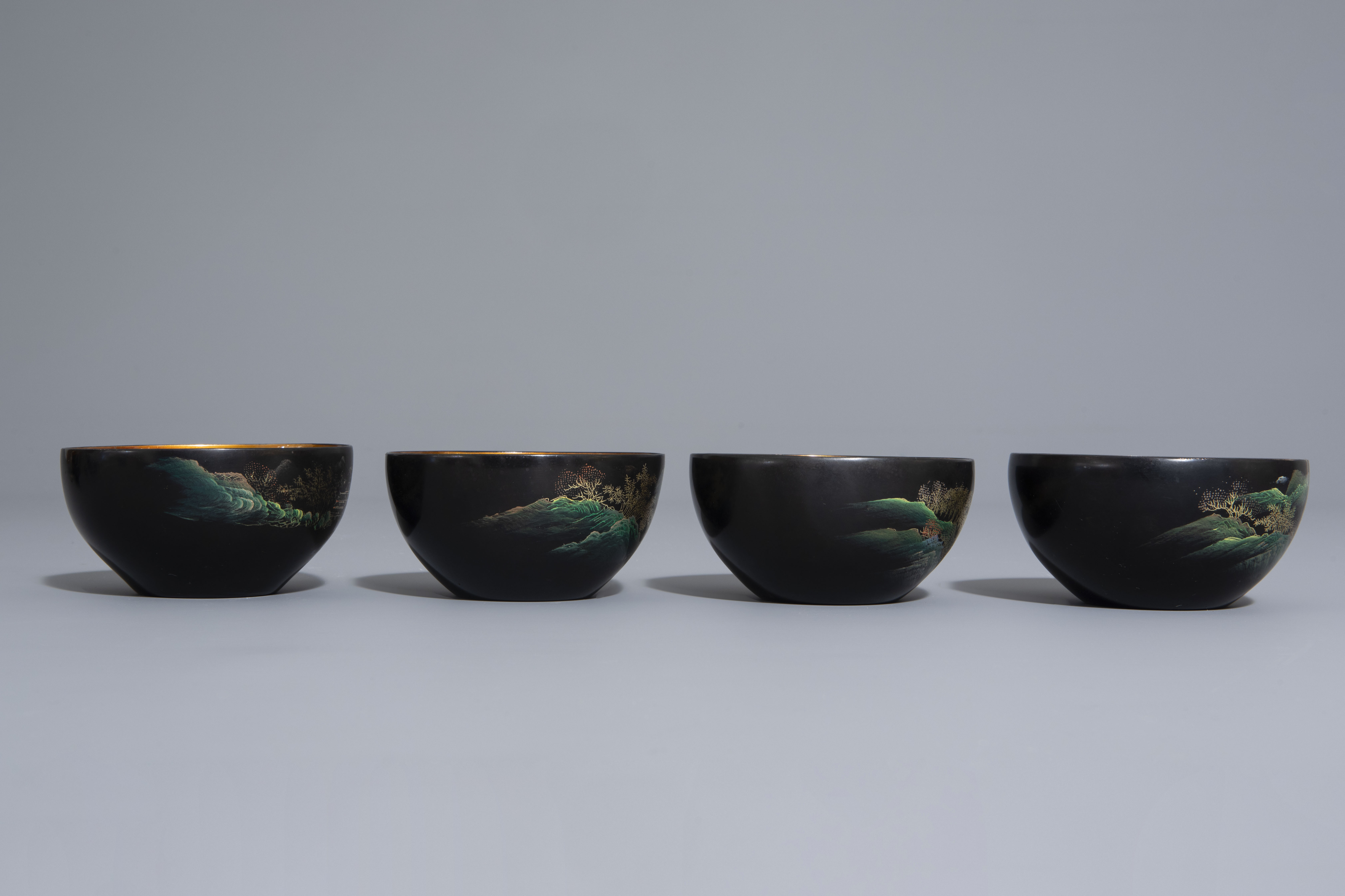 An extensive Chinese Foochow lacquer Shen Shao'an style coffee and tea service, 20th C. - Image 9 of 23
