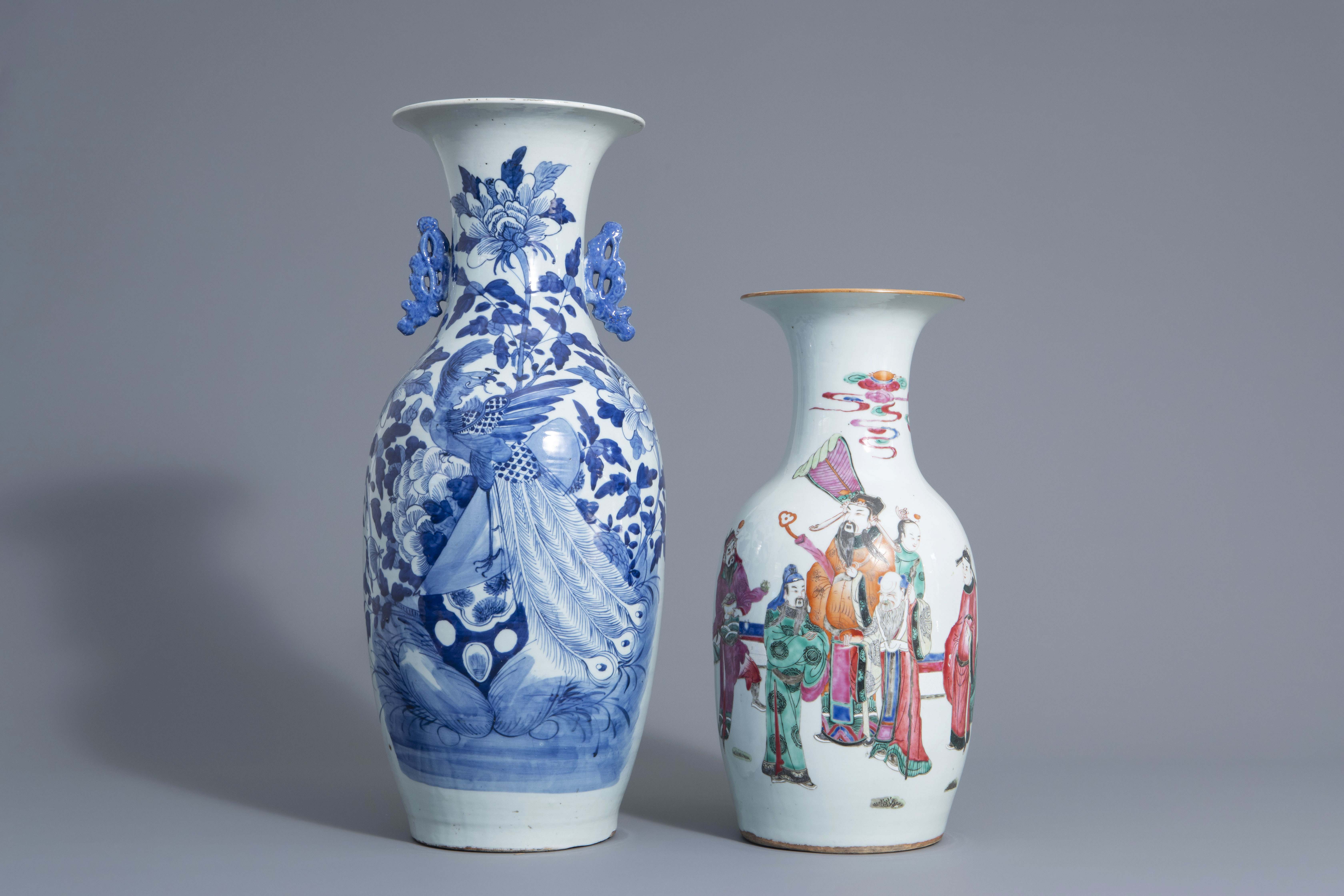 Two Chinese famille rose and blue and white vases with different designs, 19th/20th C.