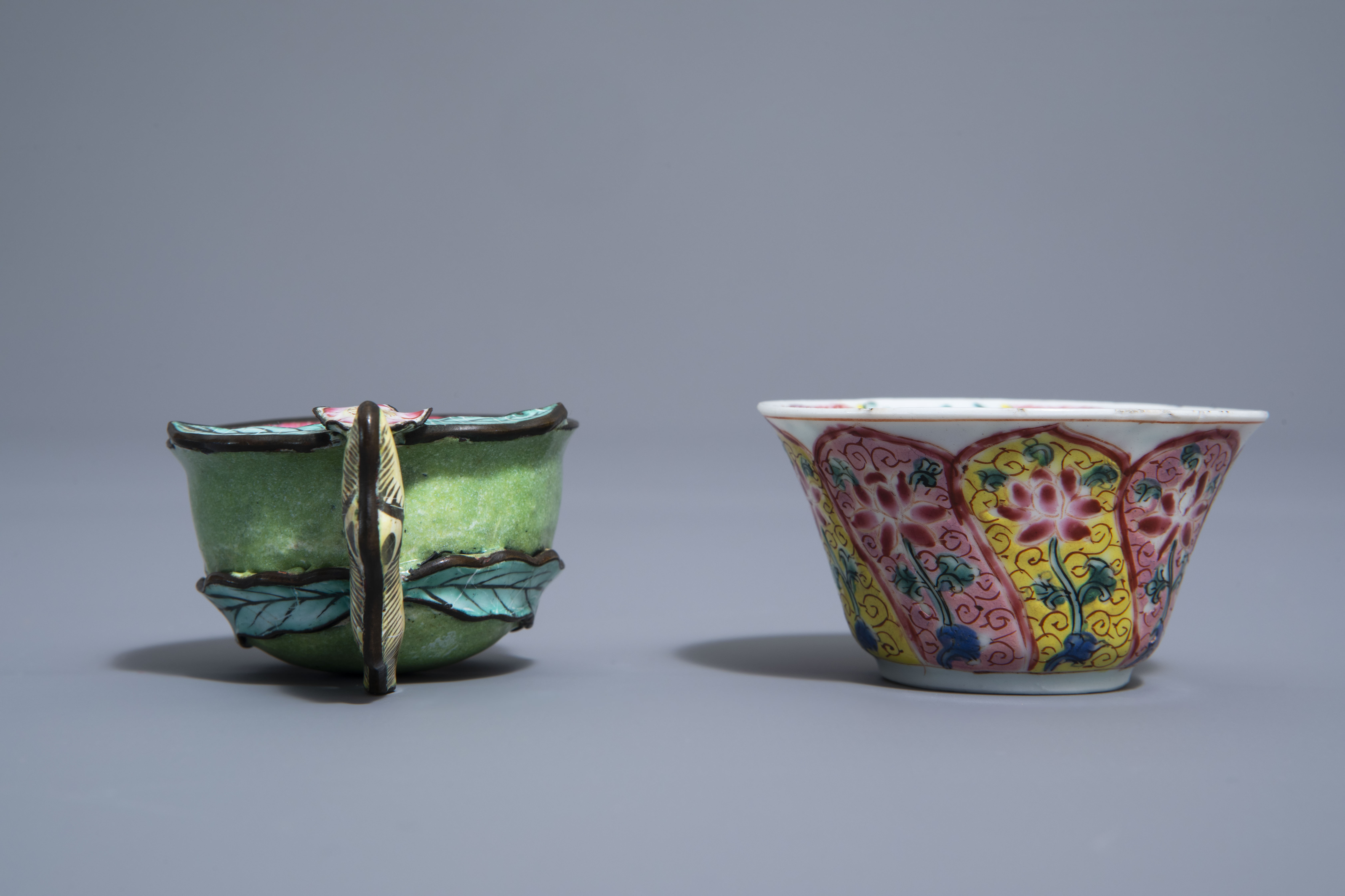 A Chinese famille rose cup and saucer and a Canton enamel peach shaped cup, Yongzheng/Qianlong - Image 5 of 9