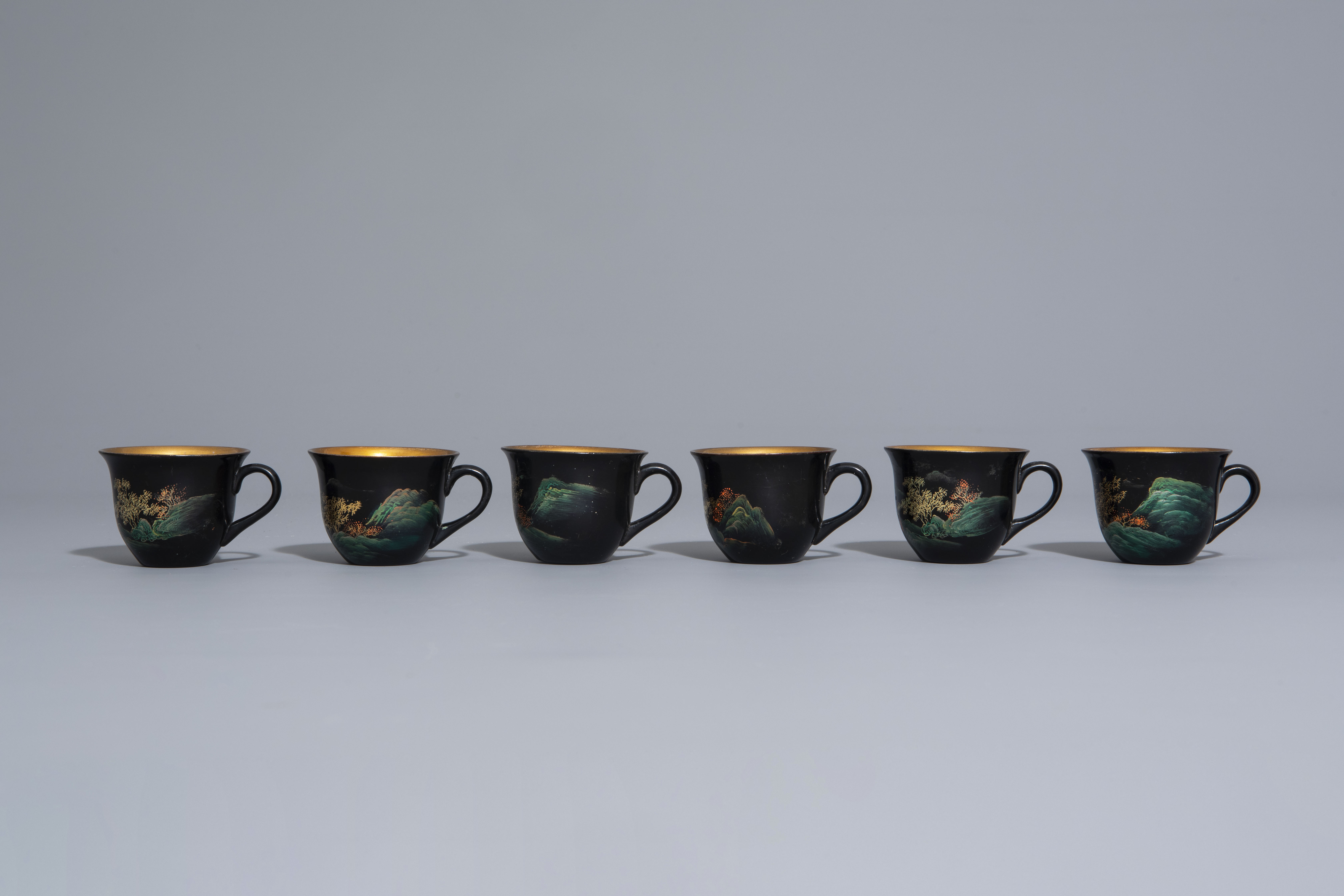 An extensive Chinese Foochow lacquer Shen Shao'an style coffee and tea service, 20th C. - Image 18 of 23