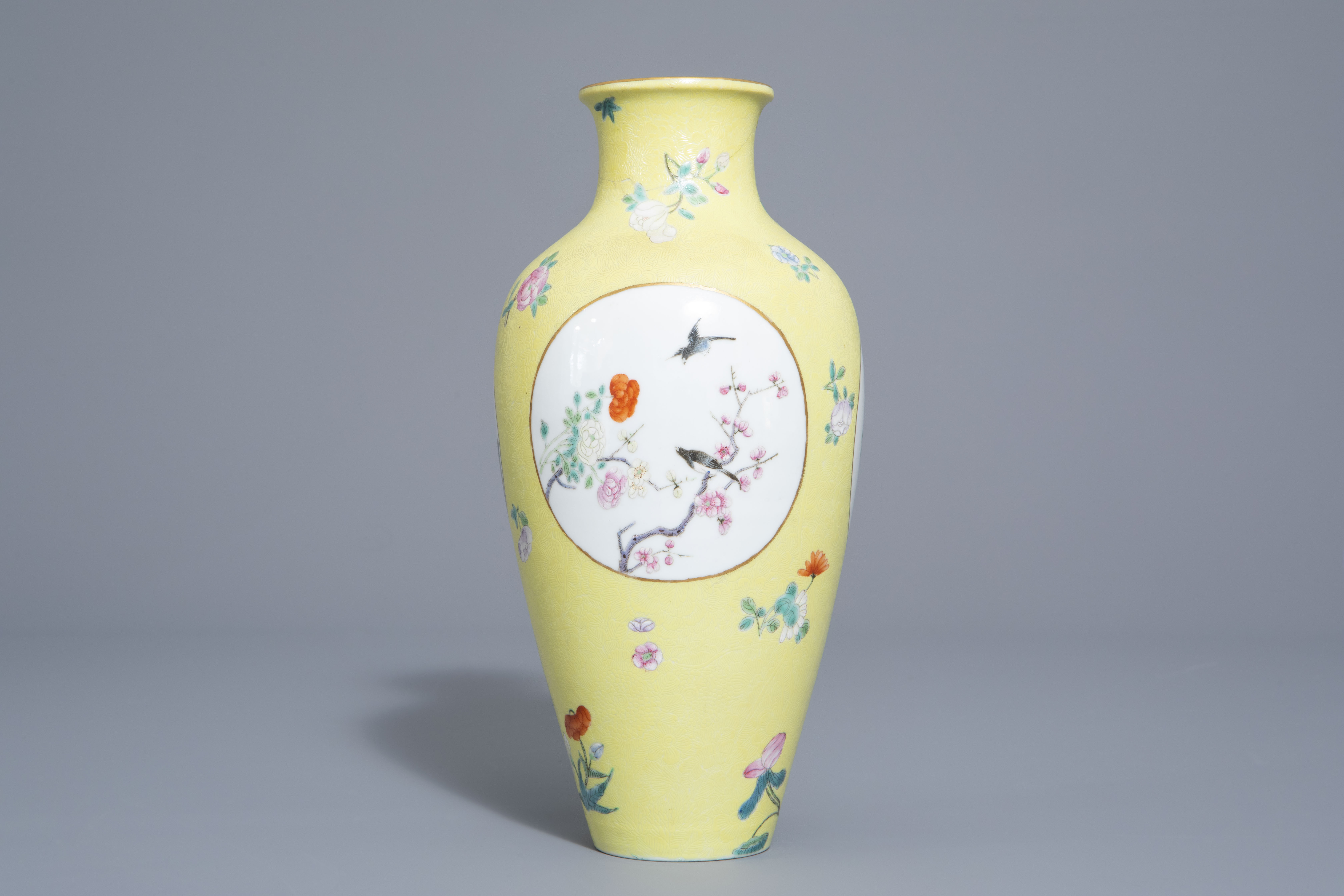 A pair of Chinese famille rose plates and a yellow ground sgraffito vase, Jurentang mark, Republic - Image 5 of 9