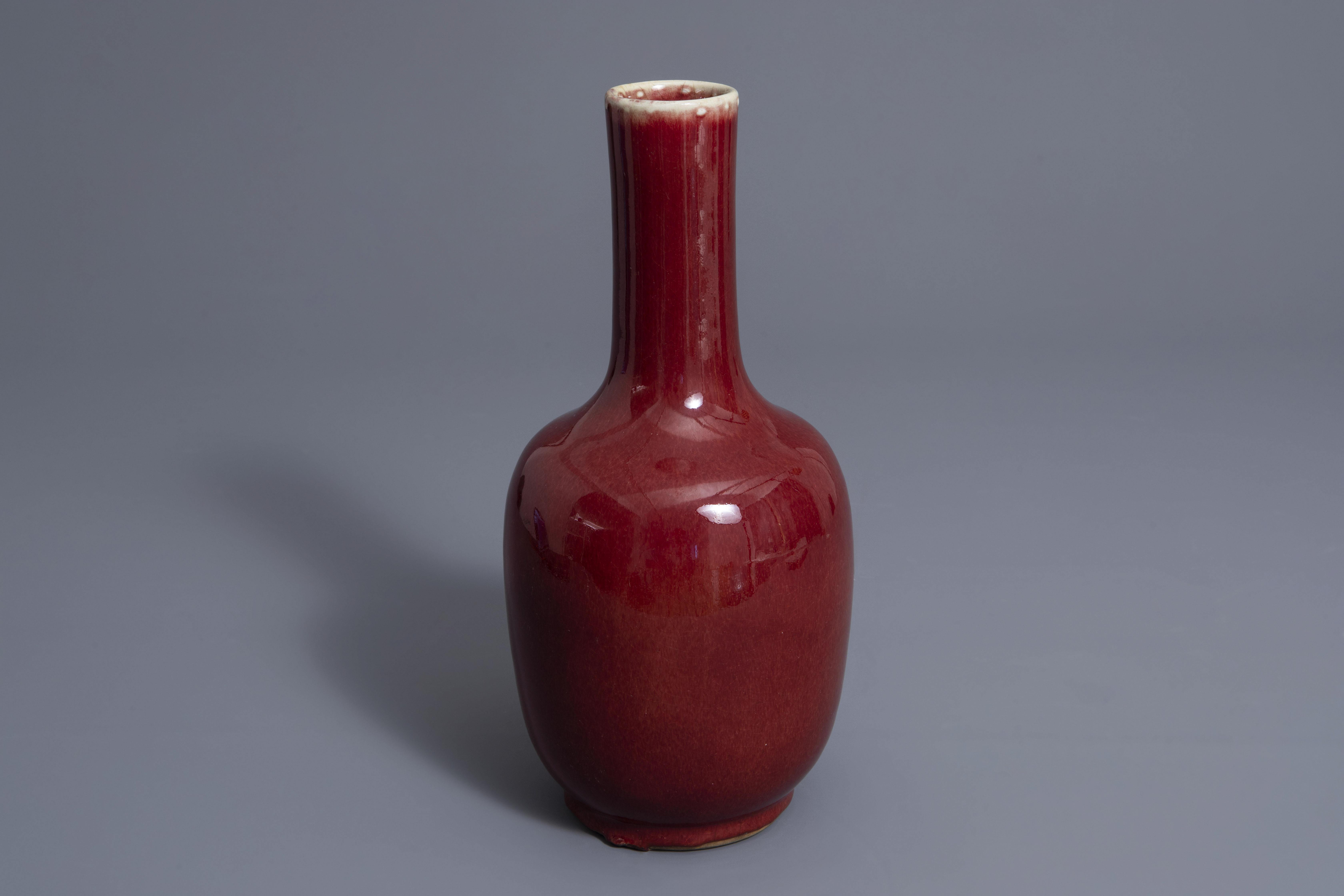 A Chinese sang de boeuf glazed bottle vase, Kangxi mark, 19th C.