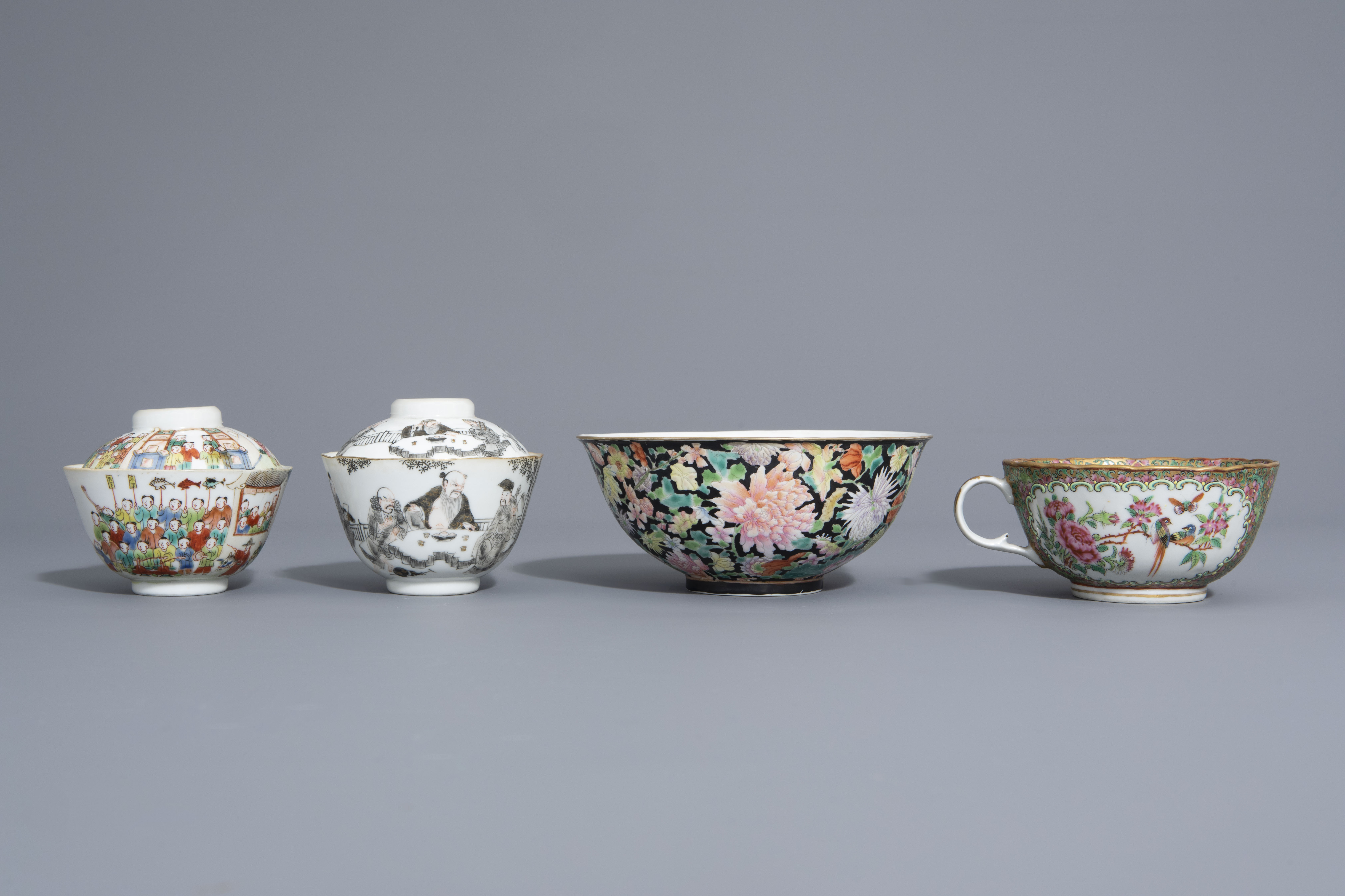 Three Chinese famille rose and grisaille bowls and a Canton bowl on stand, 19th/20th C. - Image 2 of 9