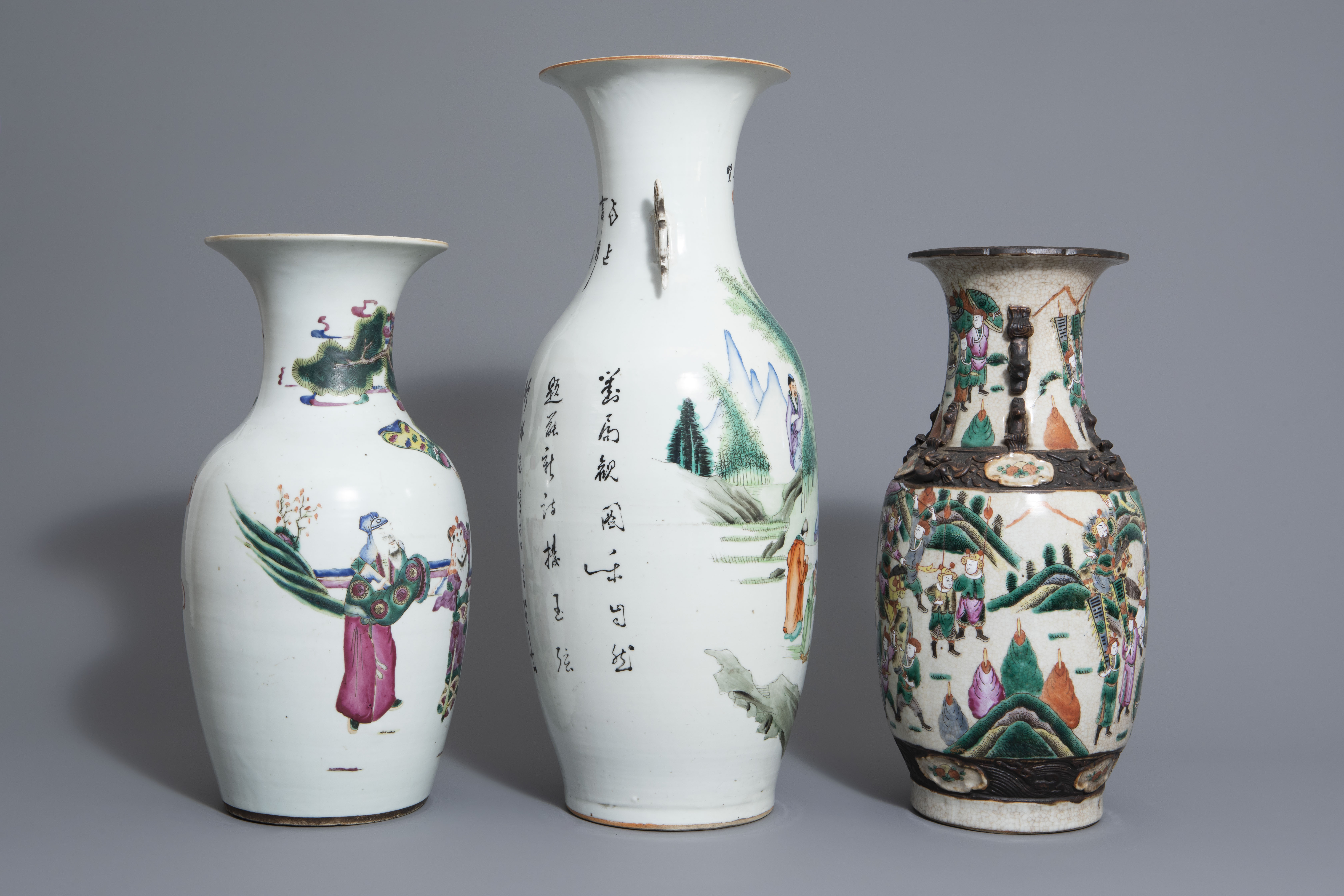 Three Chinese famille rose and Nanking crackle glazed vases, 19th C. - Image 3 of 7