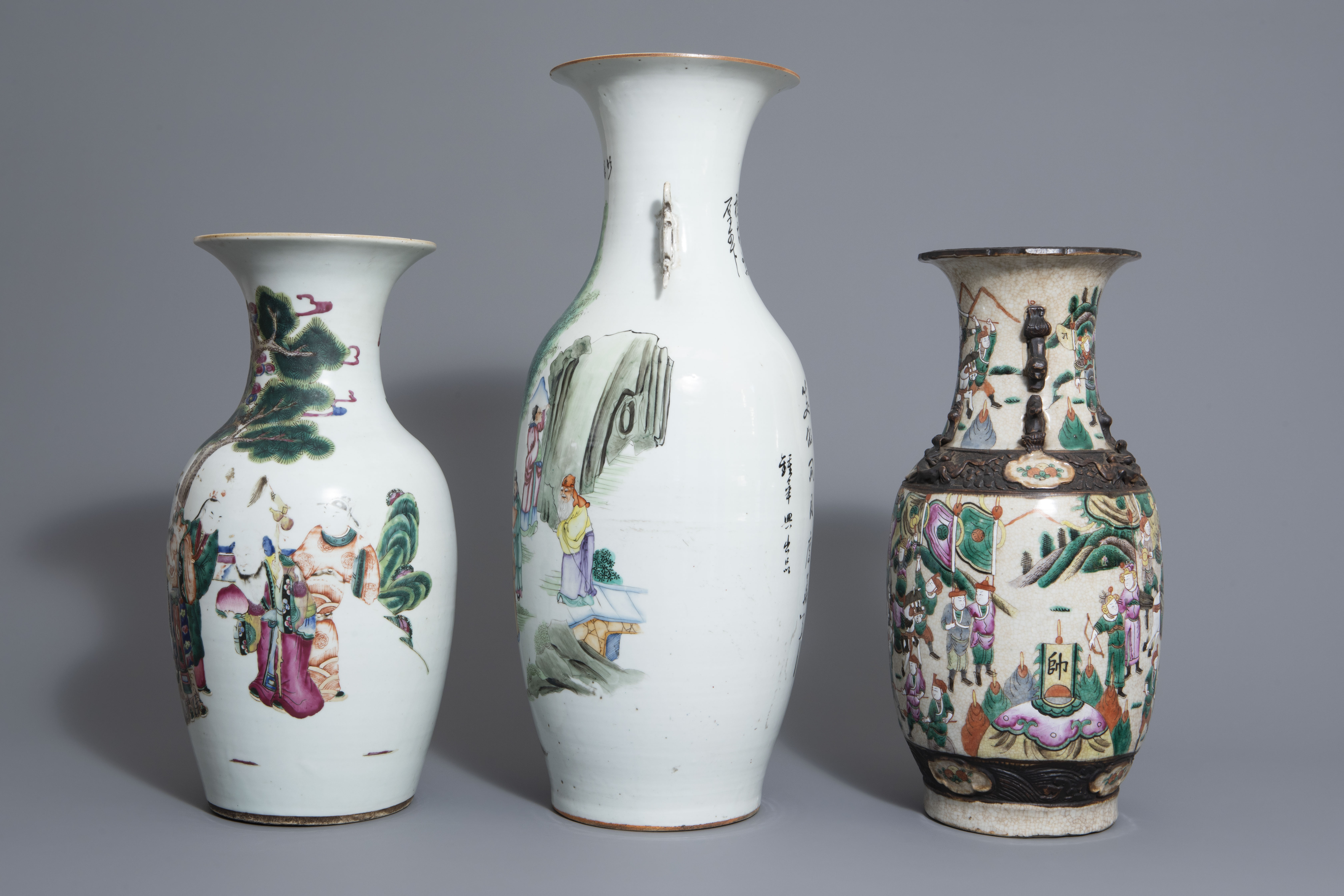 Three Chinese famille rose and Nanking crackle glazed vases, 19th C. - Image 5 of 7