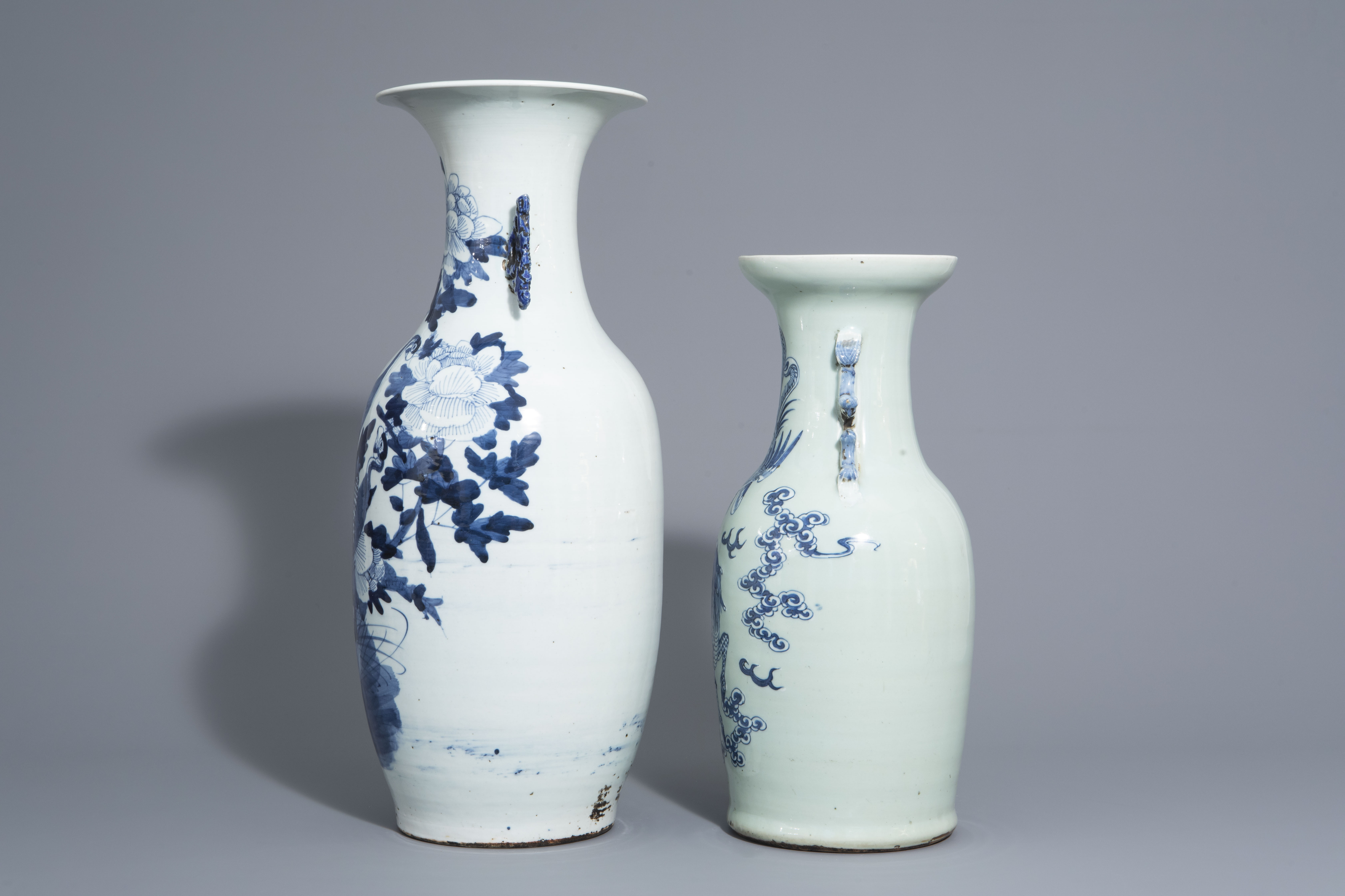 Two Chinese blue and white vases with mythological animals, 19th C. - Image 5 of 7