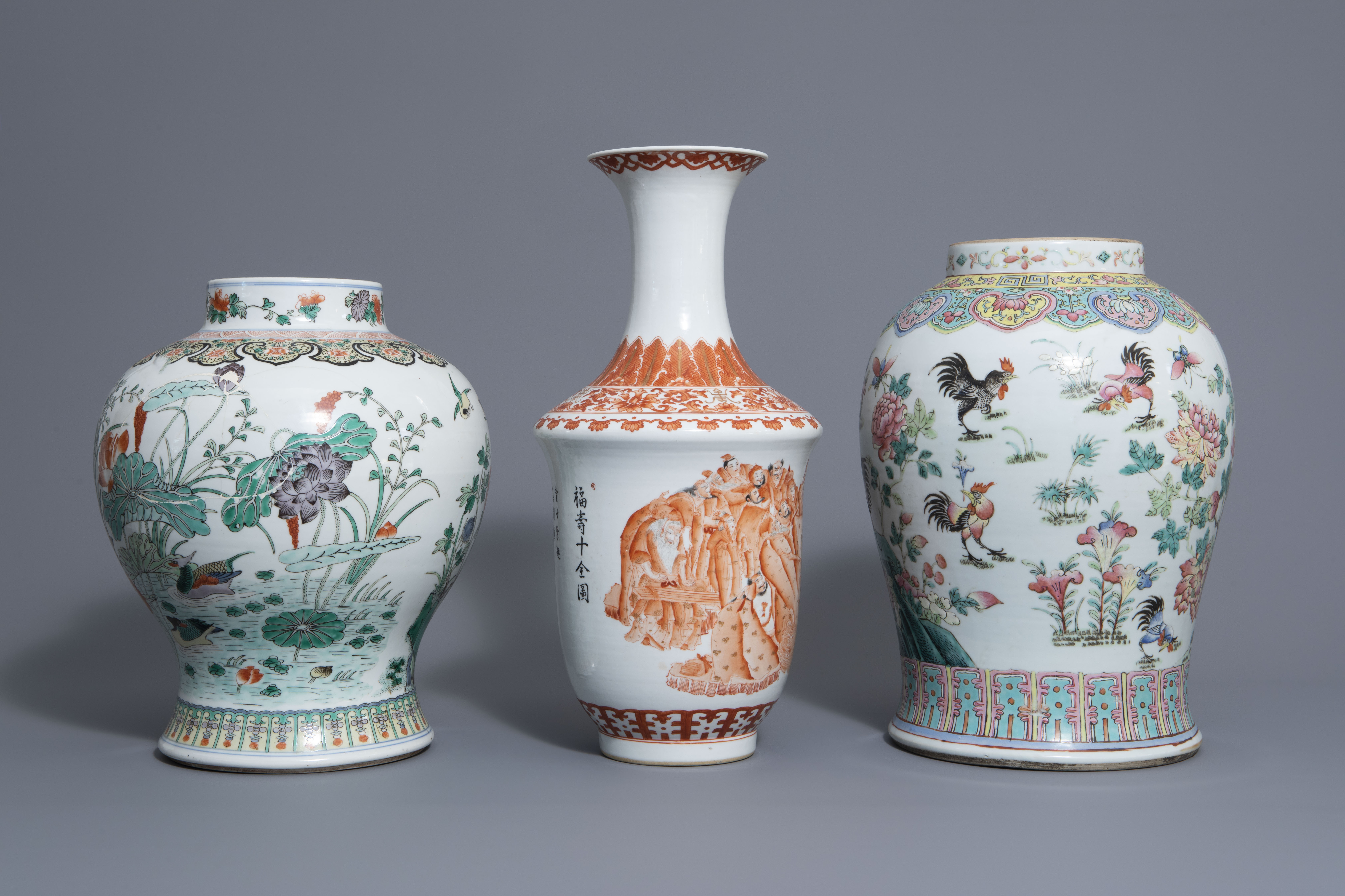 Three Chinese famille rose, verte and iron red vases with different designs, 19th/20th C. - Image 3 of 7