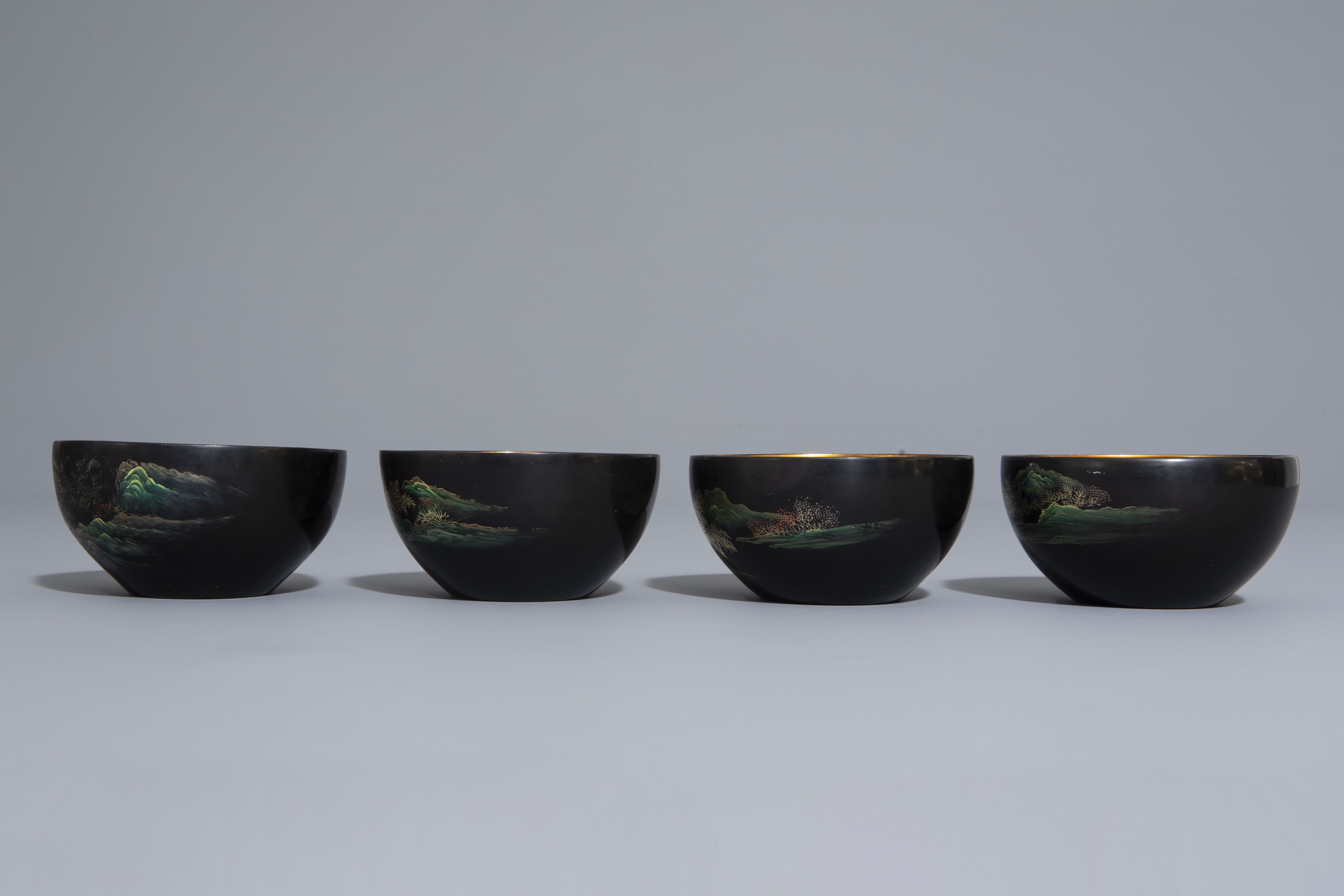 An extensive Chinese Foochow lacquer Shen Shao'an style coffee and tea service, 20th C. - Image 11 of 23