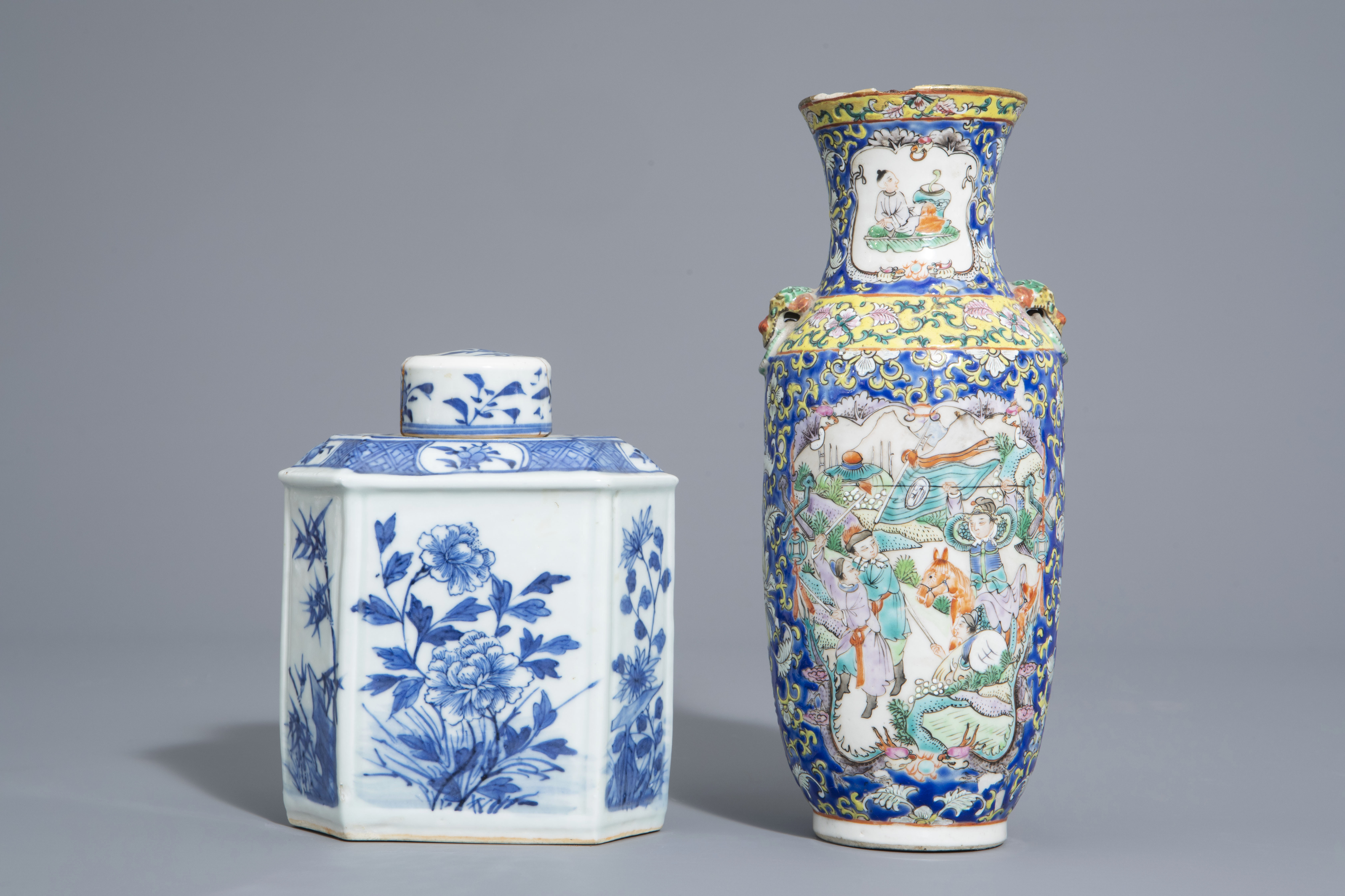 A varied collection of Chinese blue and white and famille rose porcelain, 19th/20th C. - Image 2 of 15