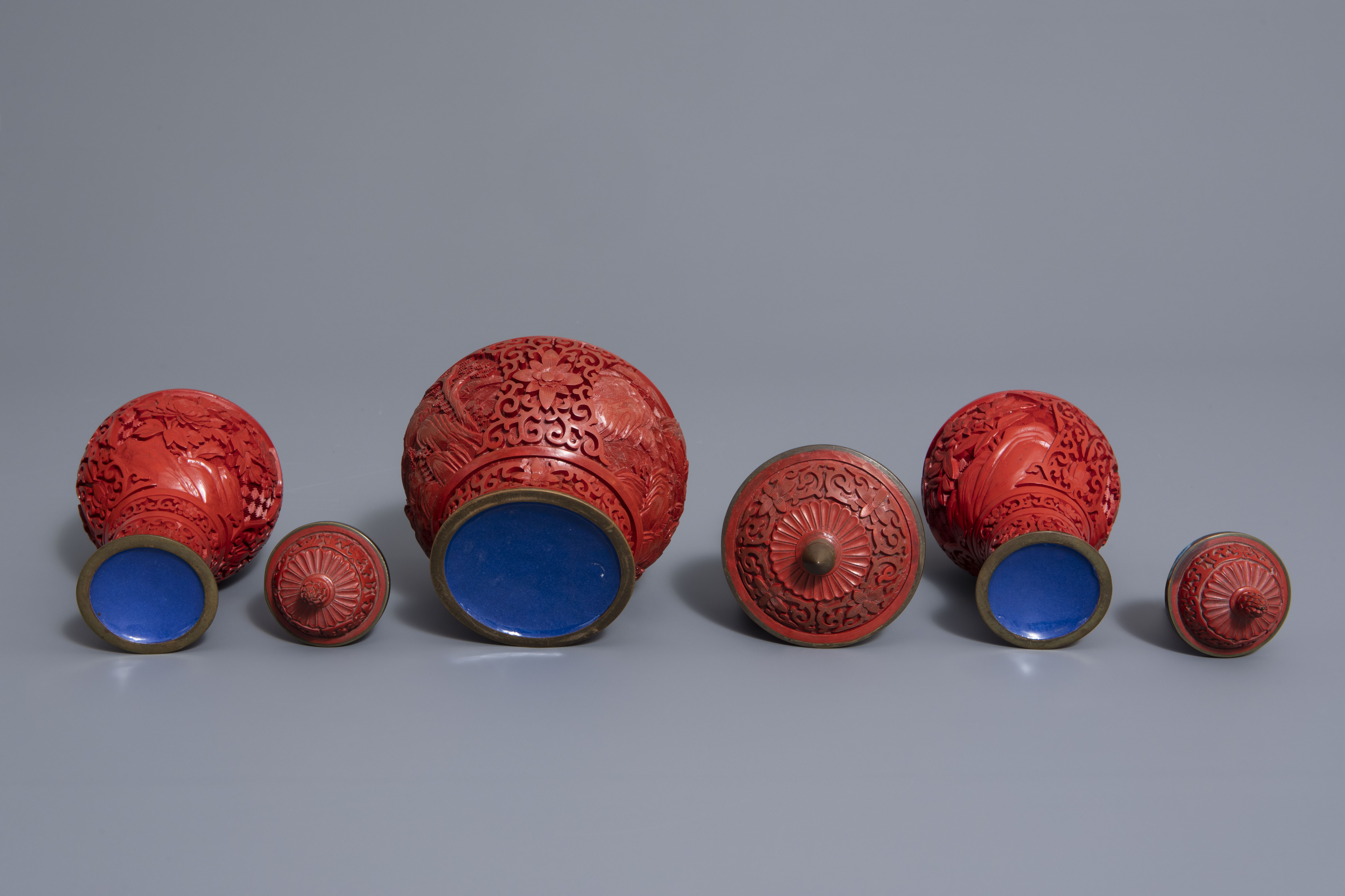A Chinese tea block, cloisonné teapot, wall vase, bamboo brush pot & 3 red lacquer vases, 20th C. - Image 7 of 16