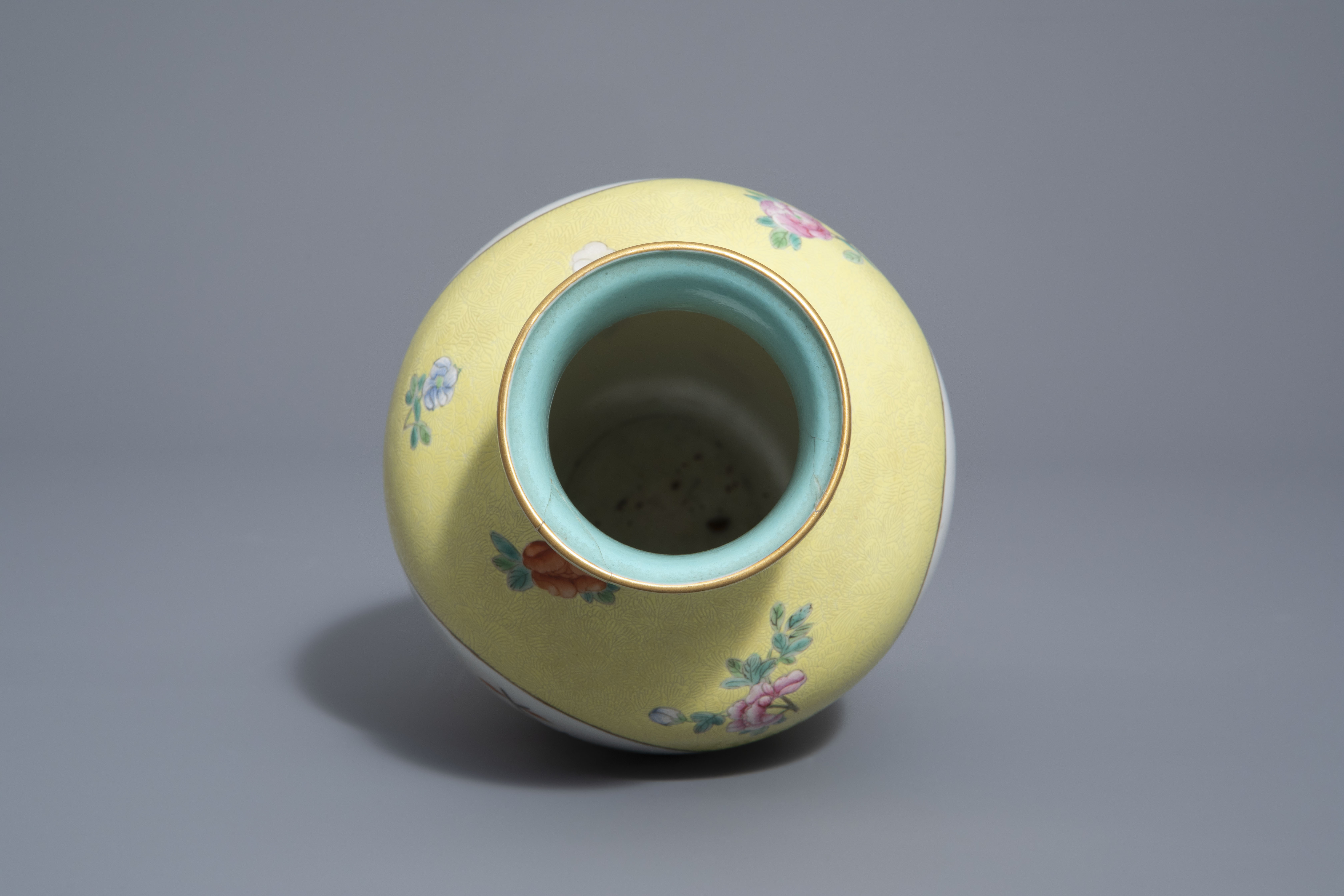 A pair of Chinese famille rose plates and a yellow ground sgraffito vase, Jurentang mark, Republic - Image 8 of 9