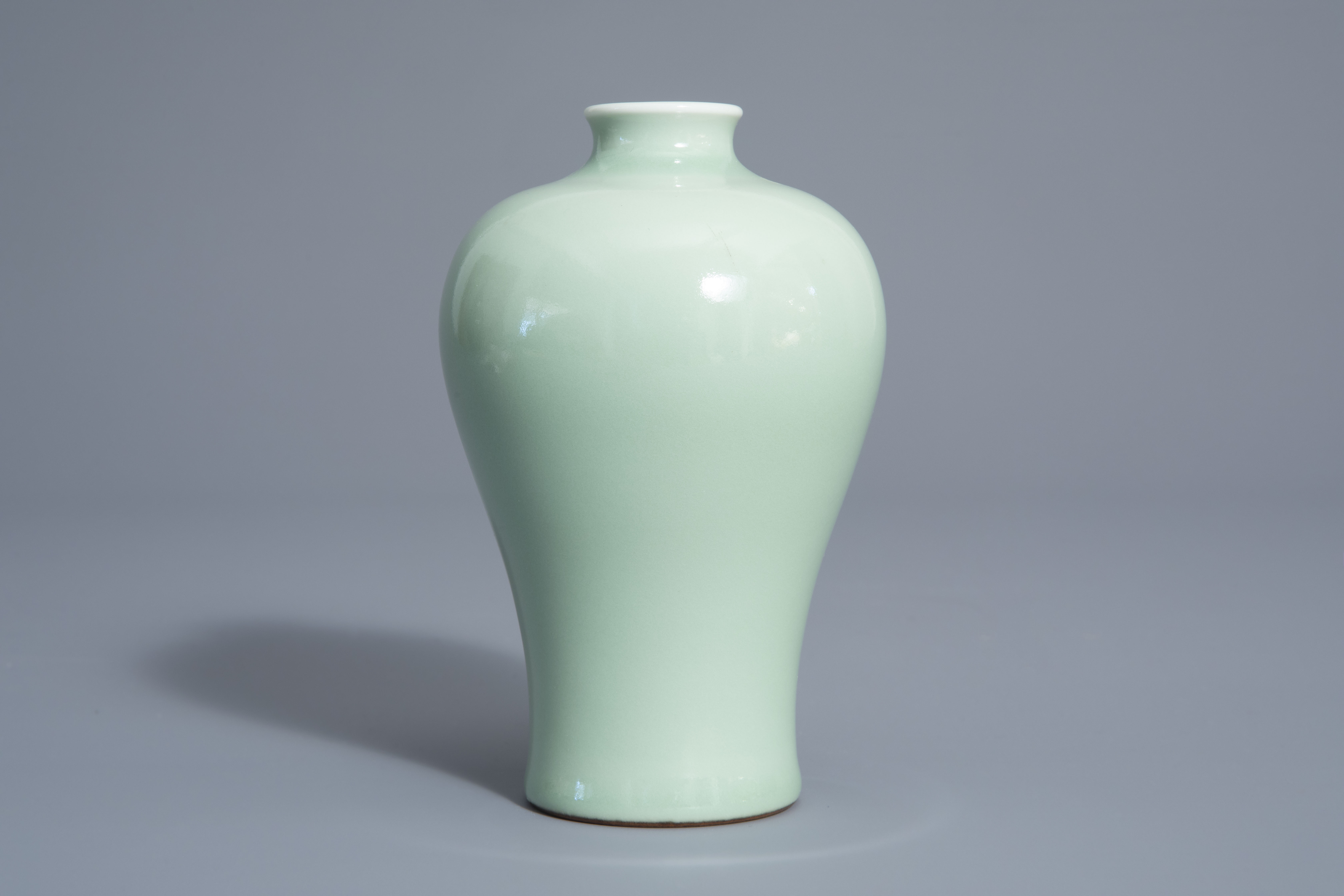 A Chinese monochrome celadon meiping vase, Qianlong mark, 19th/20th C.