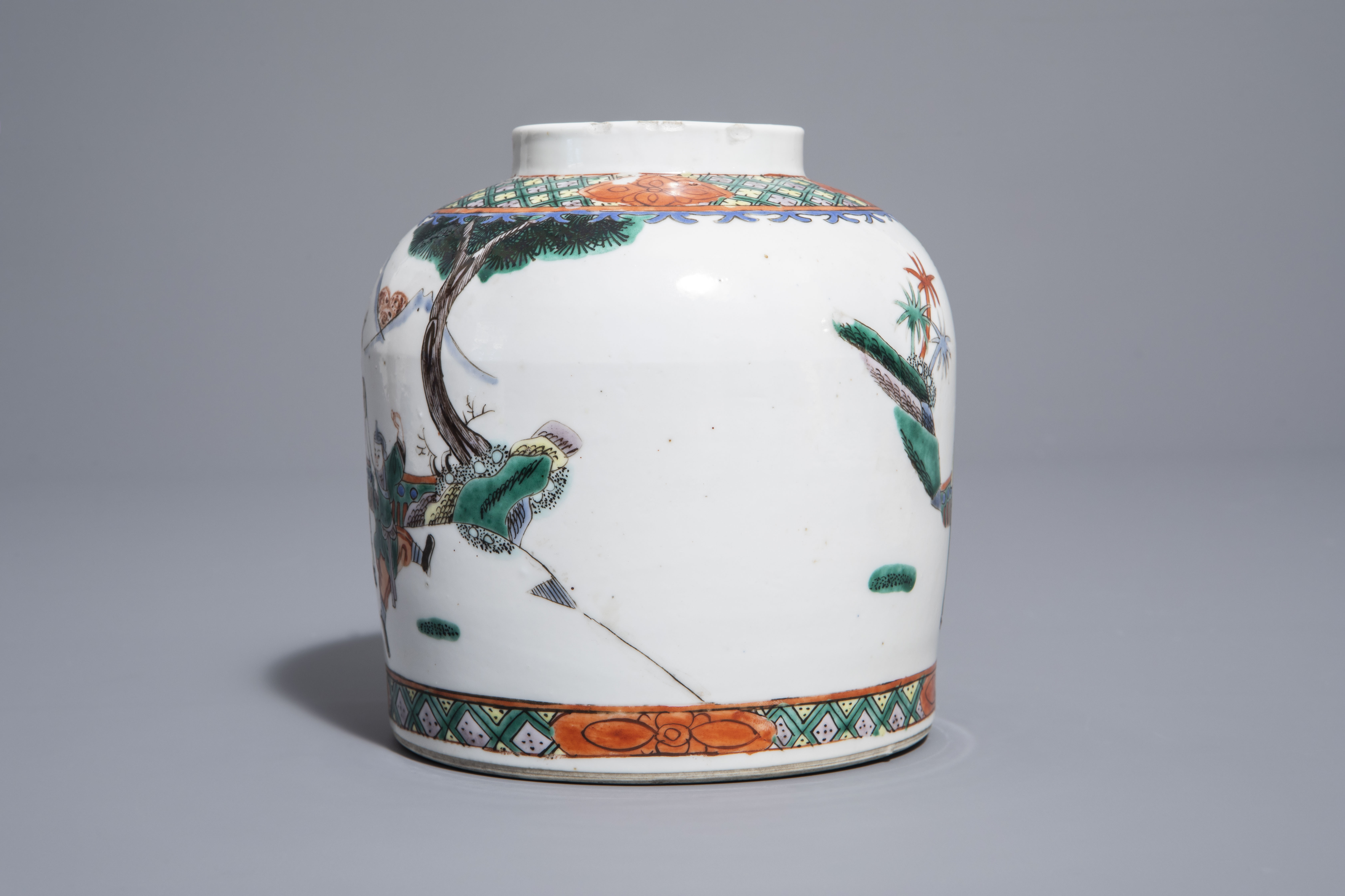 A pair of Chinese Canton famille rose vases mounted as lamps and a famille verte jar, 19th C. - Image 10 of 13