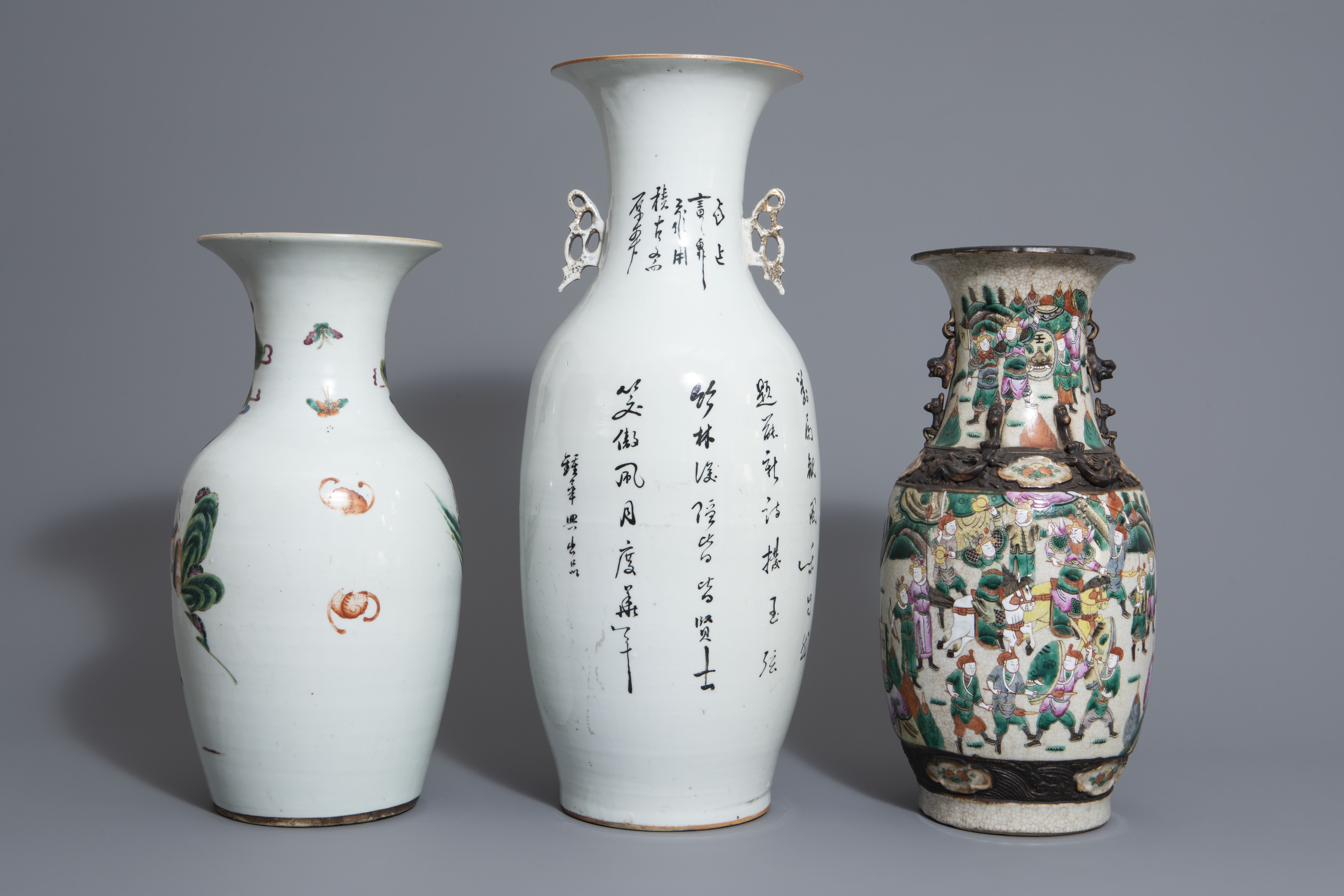 Three Chinese famille rose and Nanking crackle glazed vases, 19th C. - Image 4 of 7