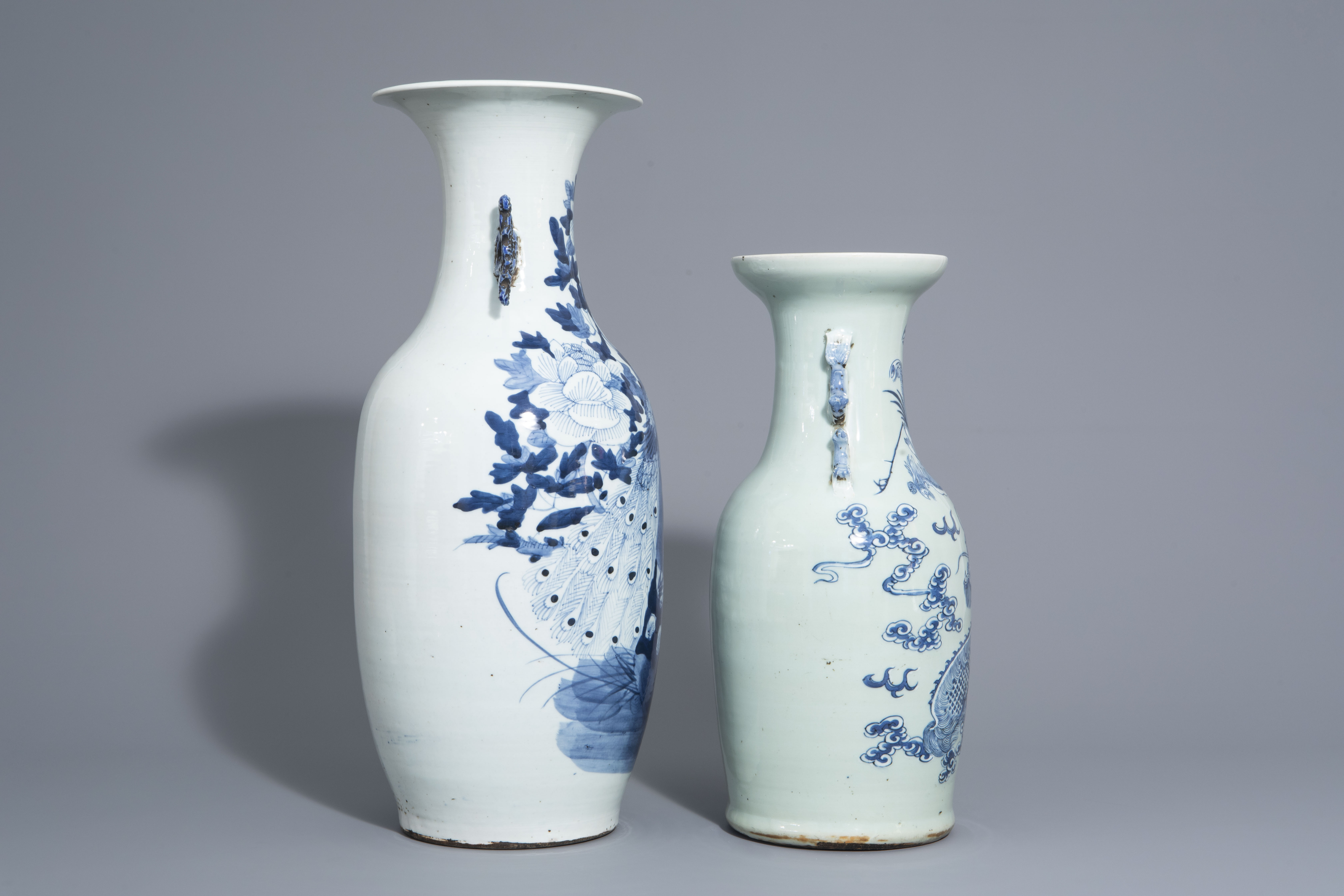 Two Chinese blue and white vases with mythological animals, 19th C. - Image 3 of 7