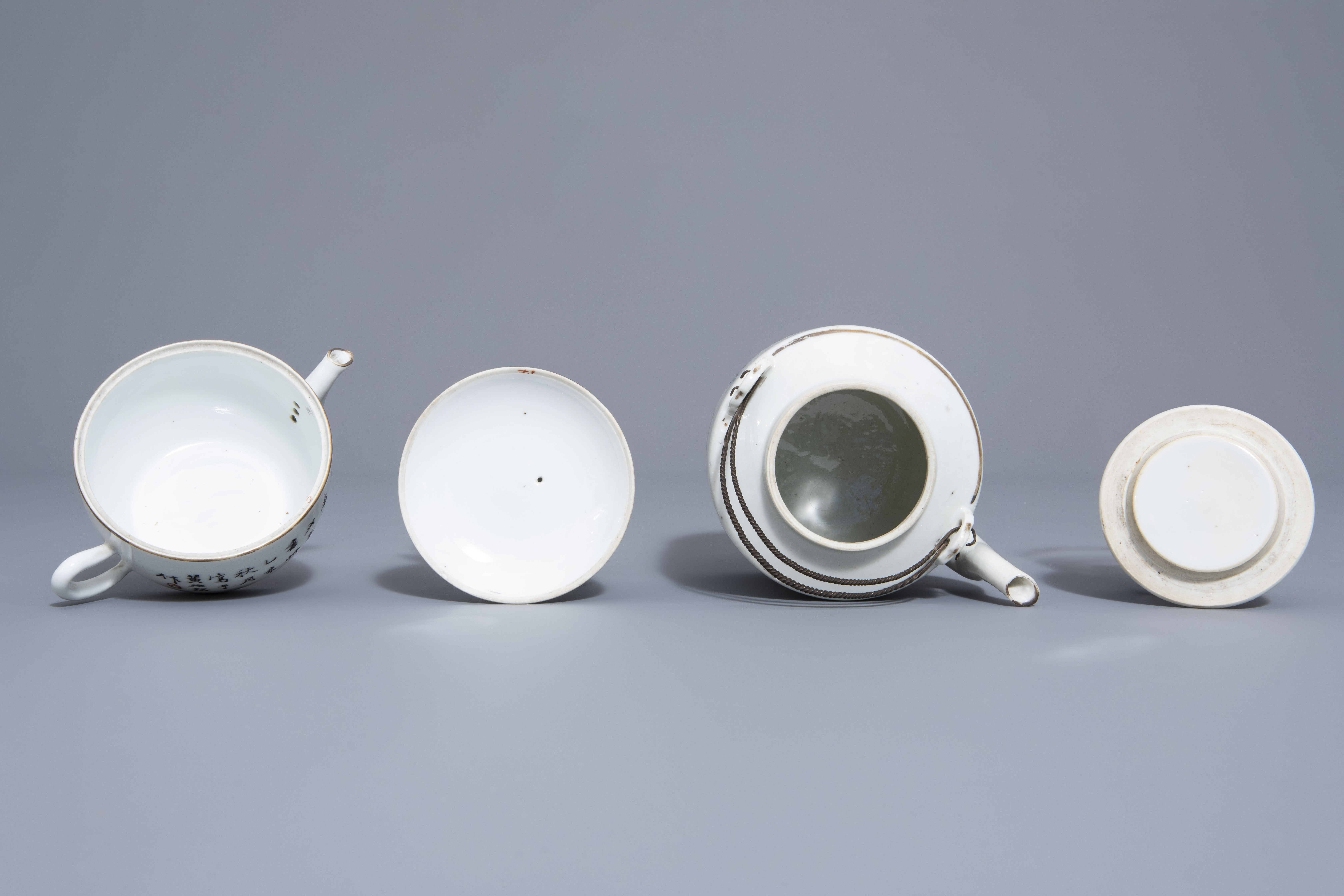 A Chinese seven-piece qianjiang cai tea service with figurative design, 19th/20th C. - Image 6 of 19