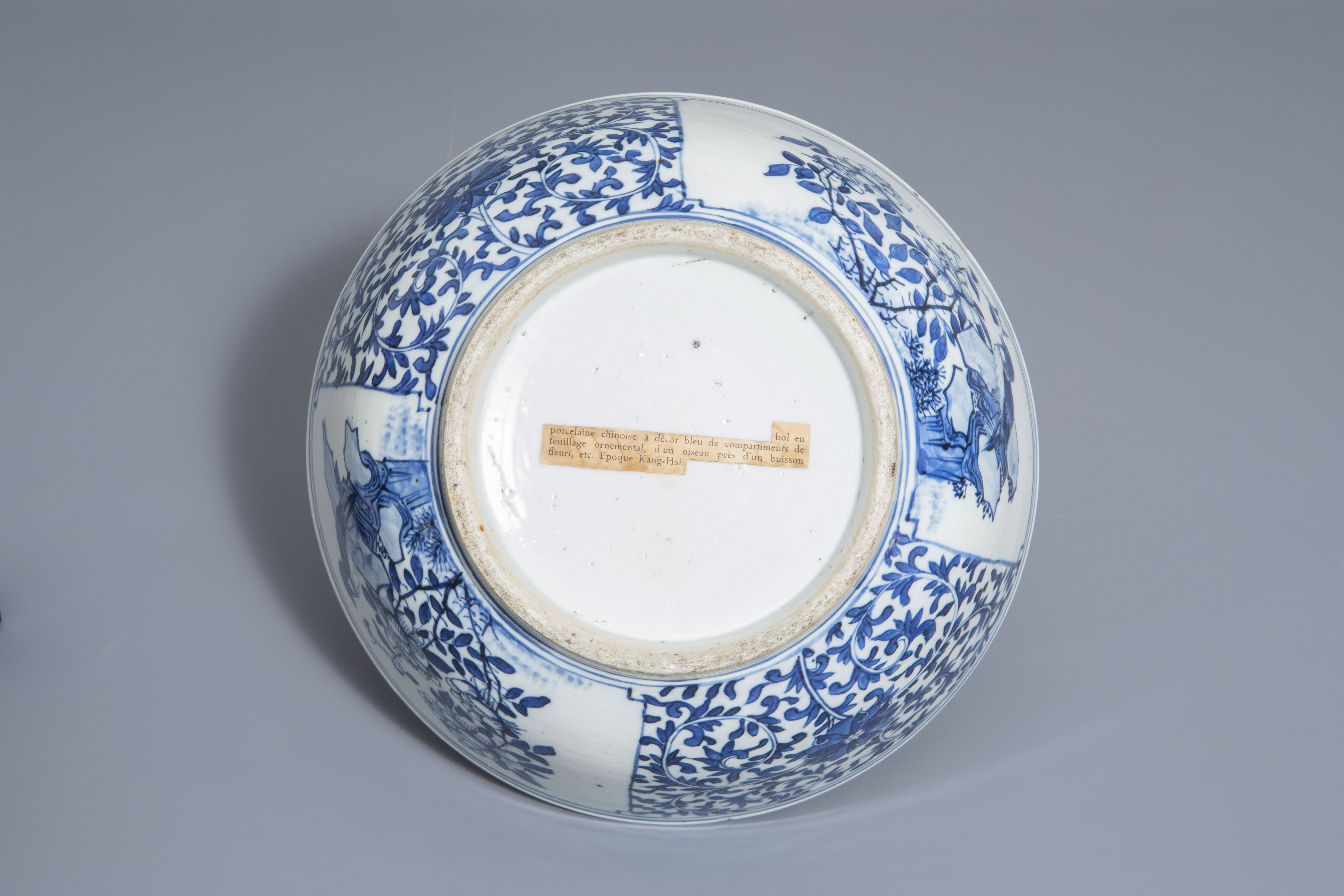 A Chinese blue and white bowl with birds and flowers, 19th C. - Image 7 of 7