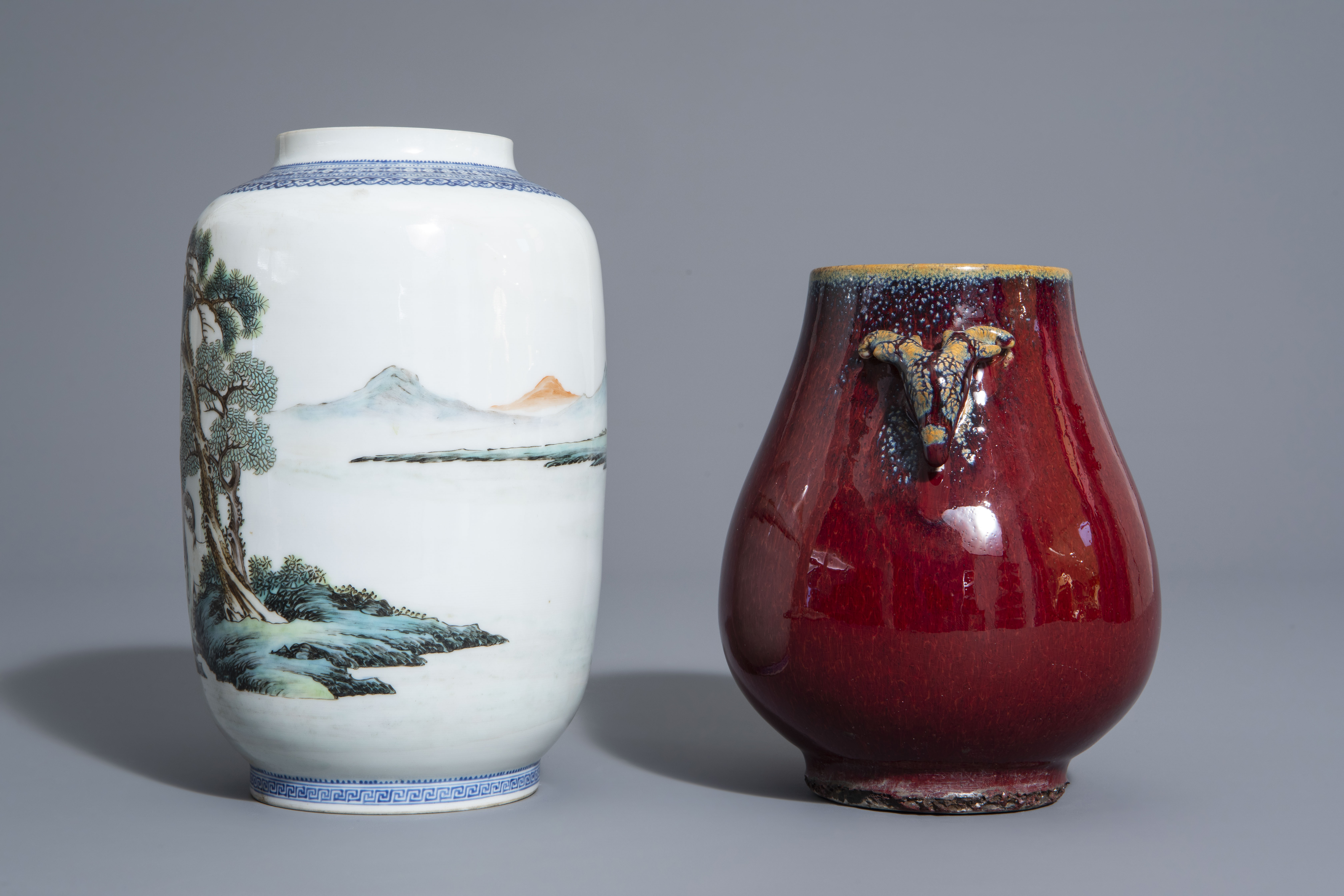 A Chinese famille rose eggshell 'Horses of Mu Wang' vase and a flambŽ glazed hu vase, 20th C. - Image 5 of 7