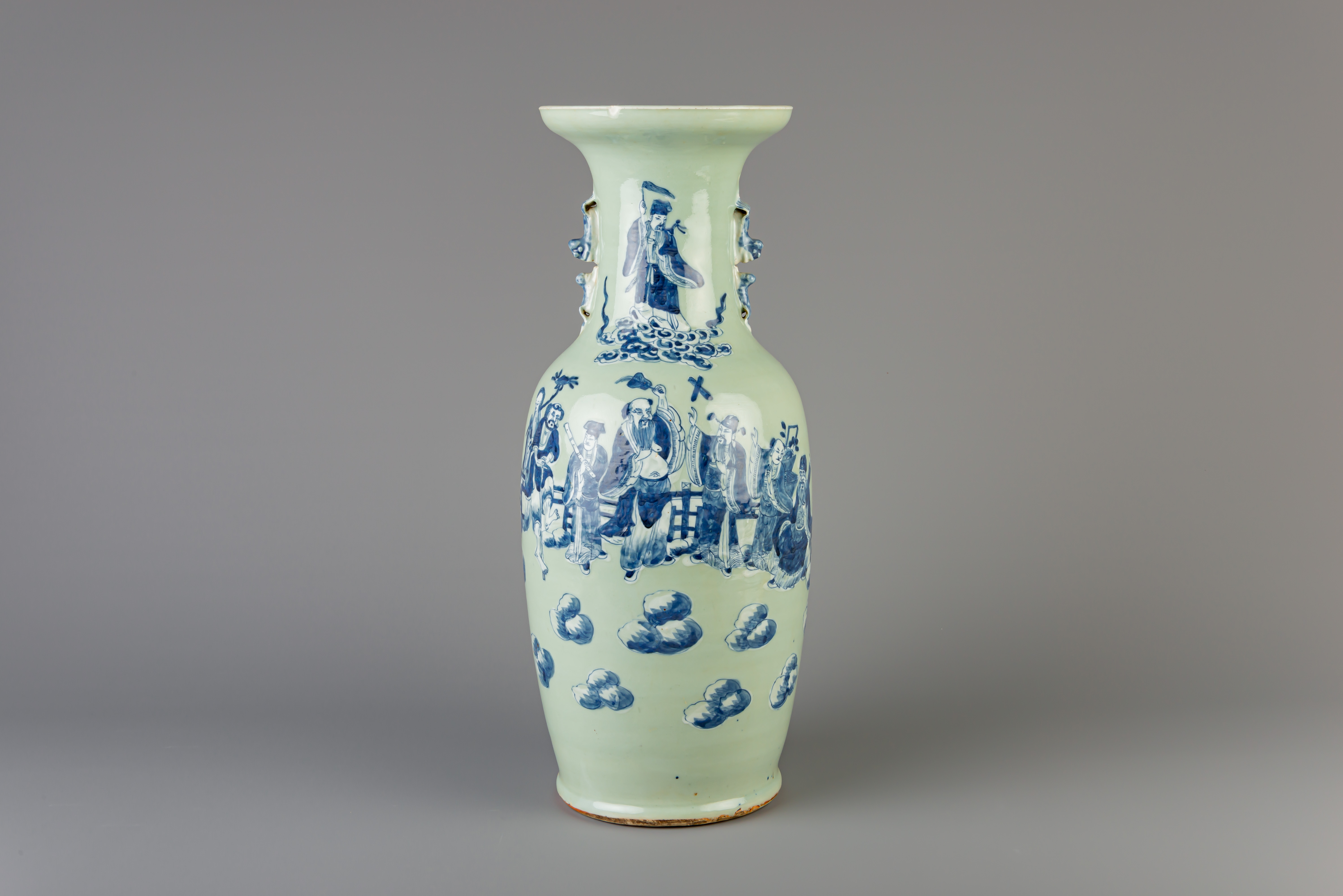 A Chinese blue and white celadon ground 'Immortals' vase, 19th C.