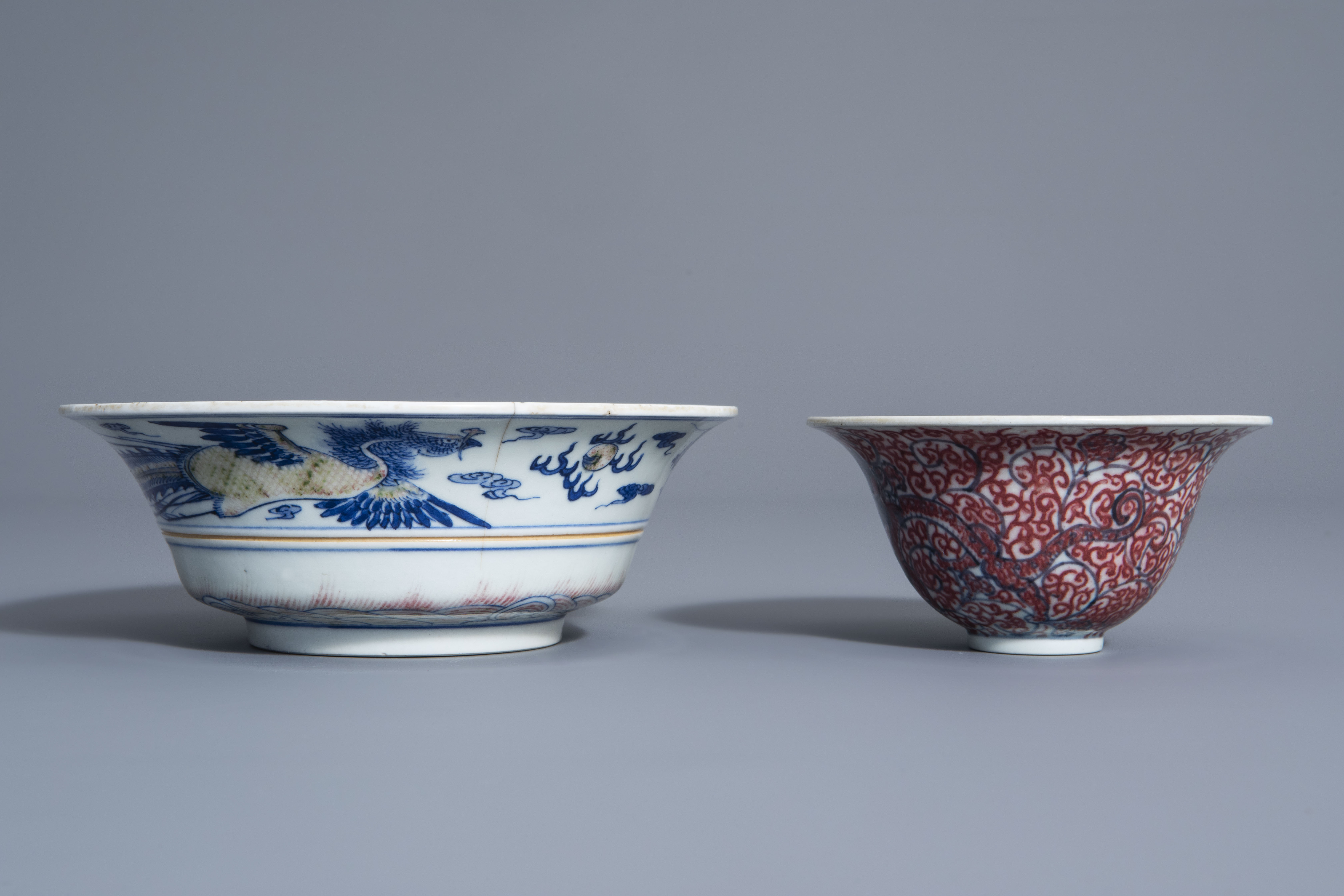 Two Chinese blue, white and copper red bowls, Kangxi mark, 19th/20th C. - Image 3 of 7