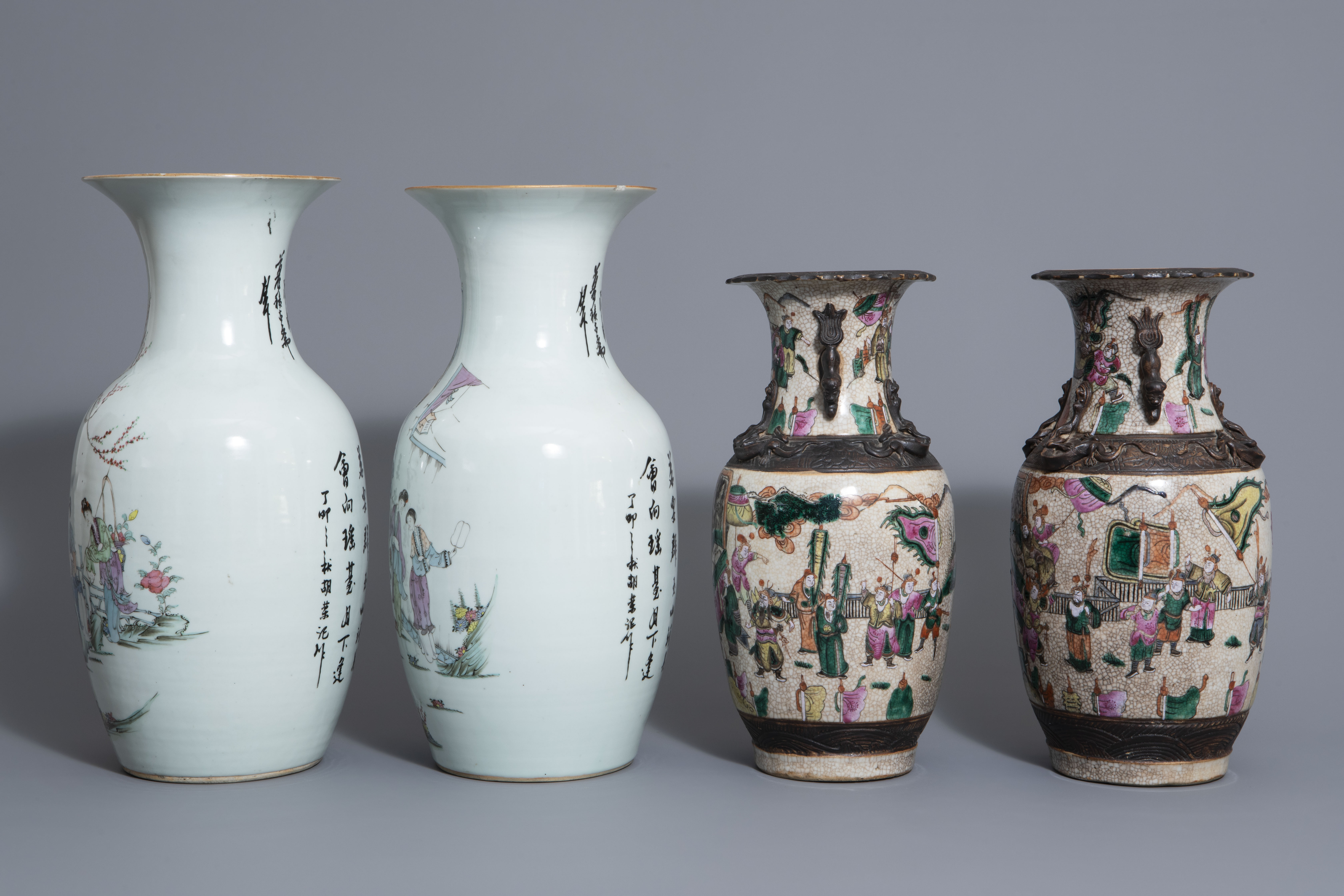 Two pairs of Chinese famille rose and Nanking crackle glazed vases, 19th/20th C. - Image 5 of 7