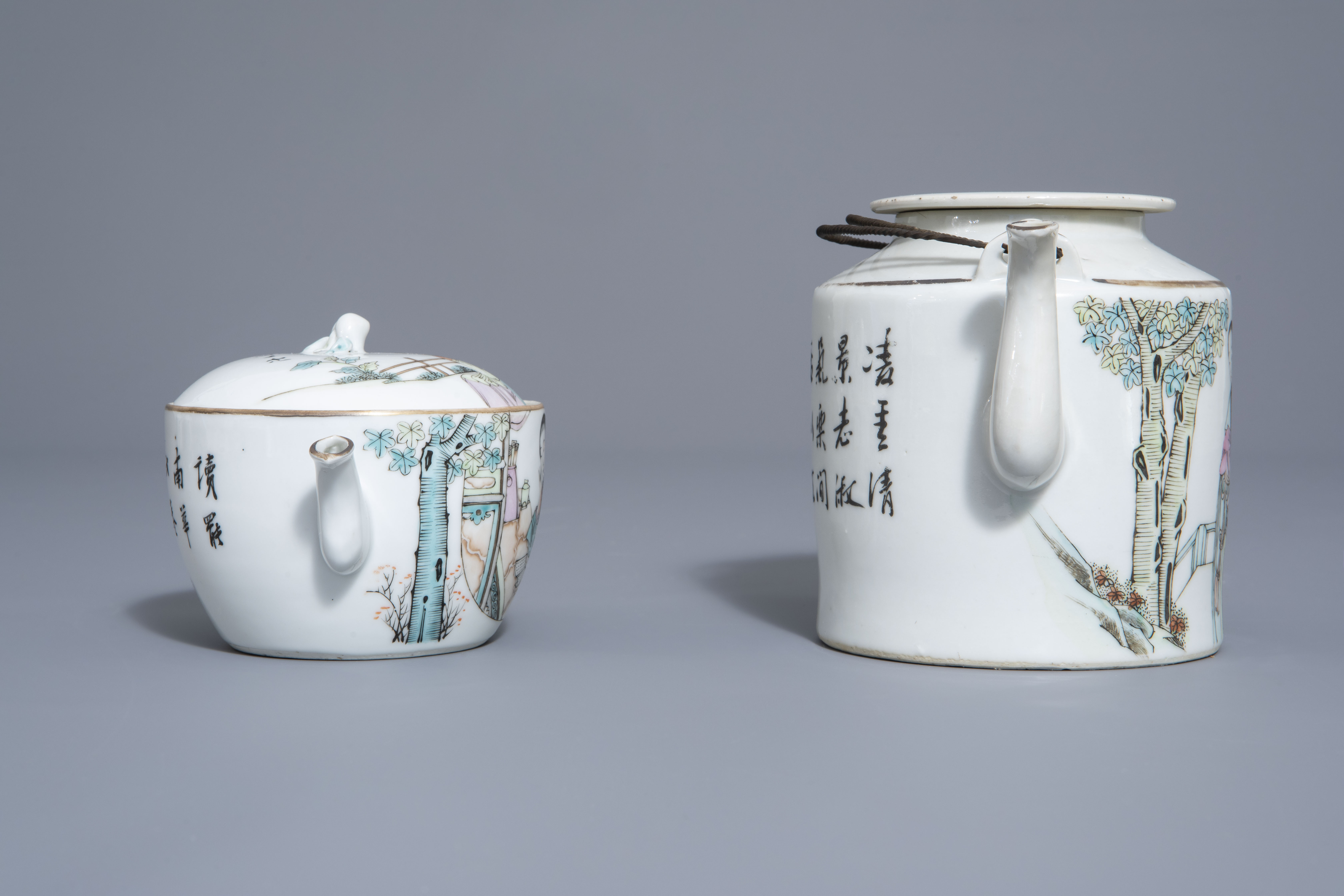 A Chinese seven-piece qianjiang cai tea service with figurative design, 19th/20th C. - Image 3 of 19