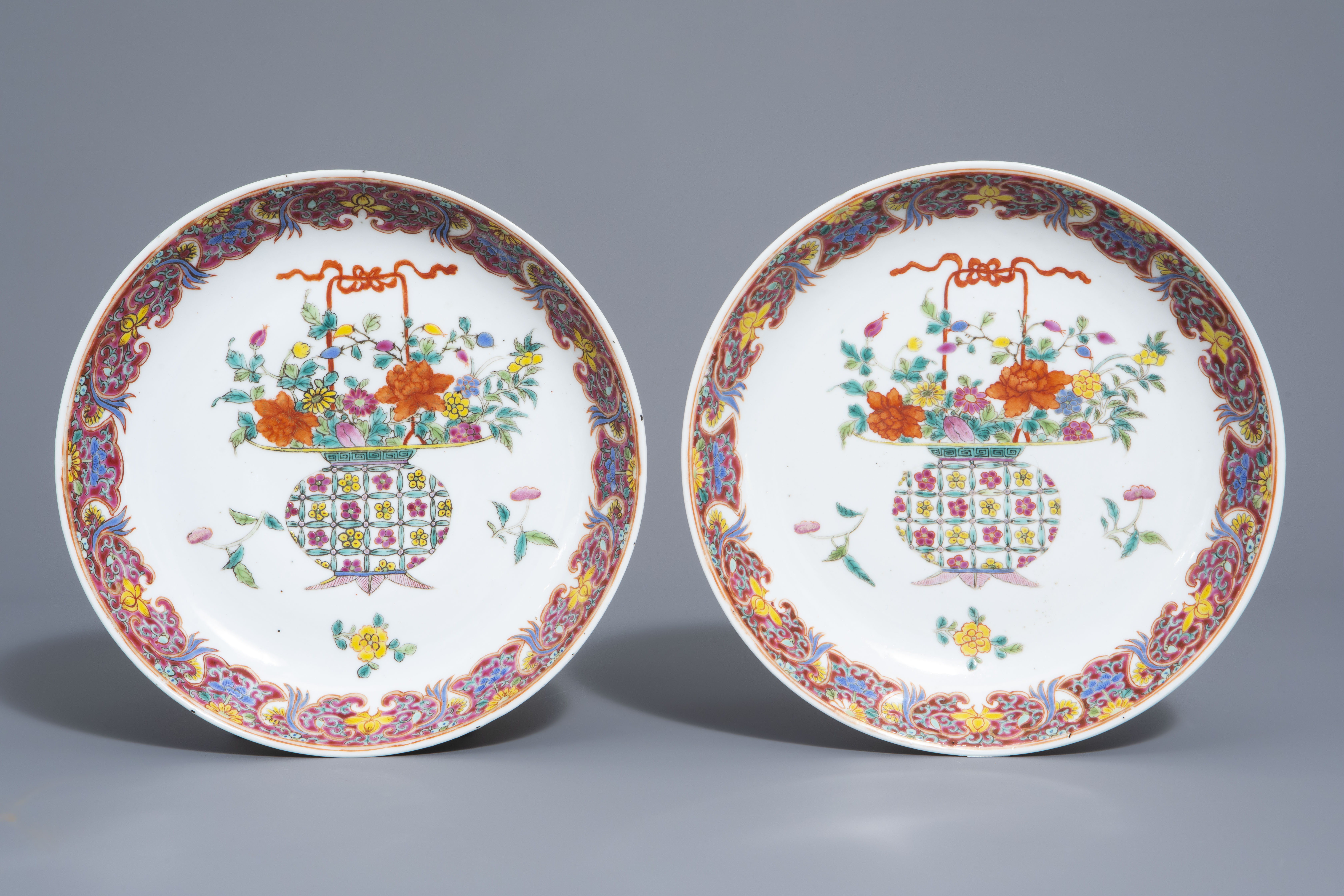 A pair of Chinese famille rose plates and a yellow ground sgraffito vase, Jurentang mark, Republic - Image 2 of 9