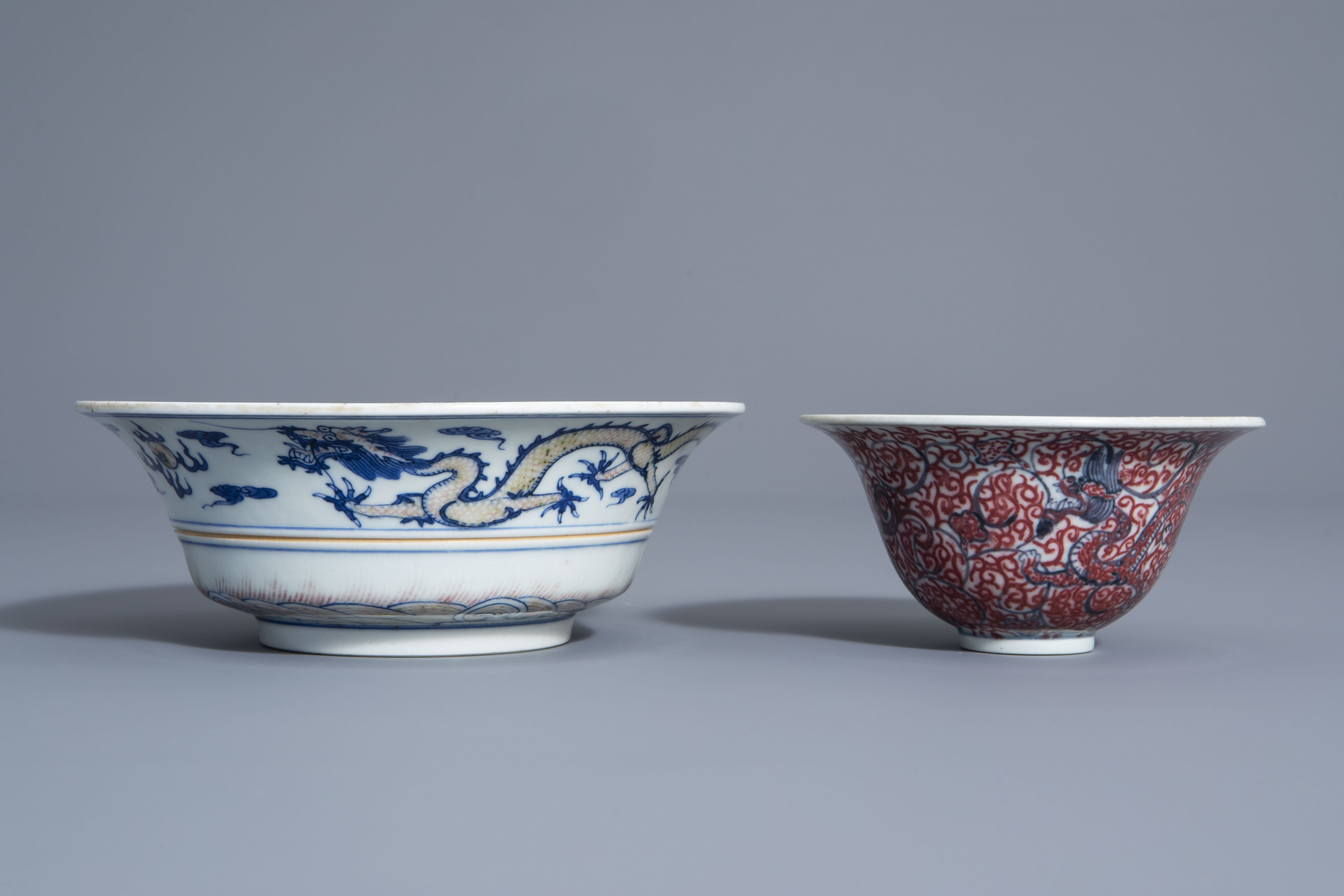 Two Chinese blue, white and copper red bowls, Kangxi mark, 19th/20th C. - Image 2 of 7